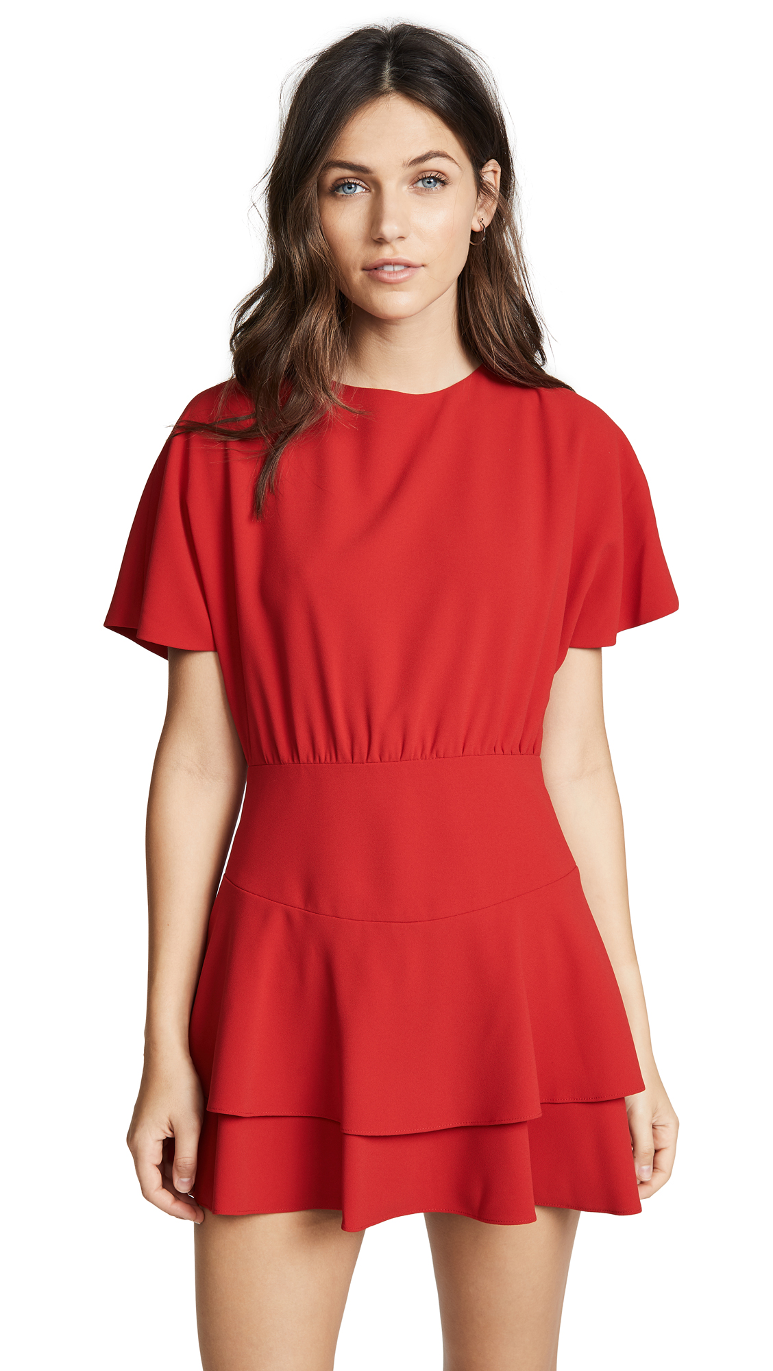 alice + olivia Palmira Tiered Ruffle Dress In Ruby