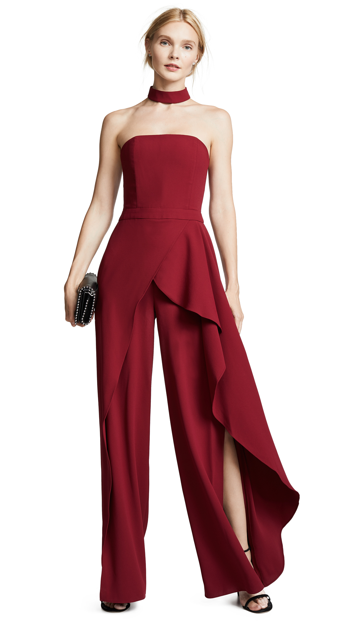 alice + olivia Latonya Bustier Jumpsuit In Bordeaux