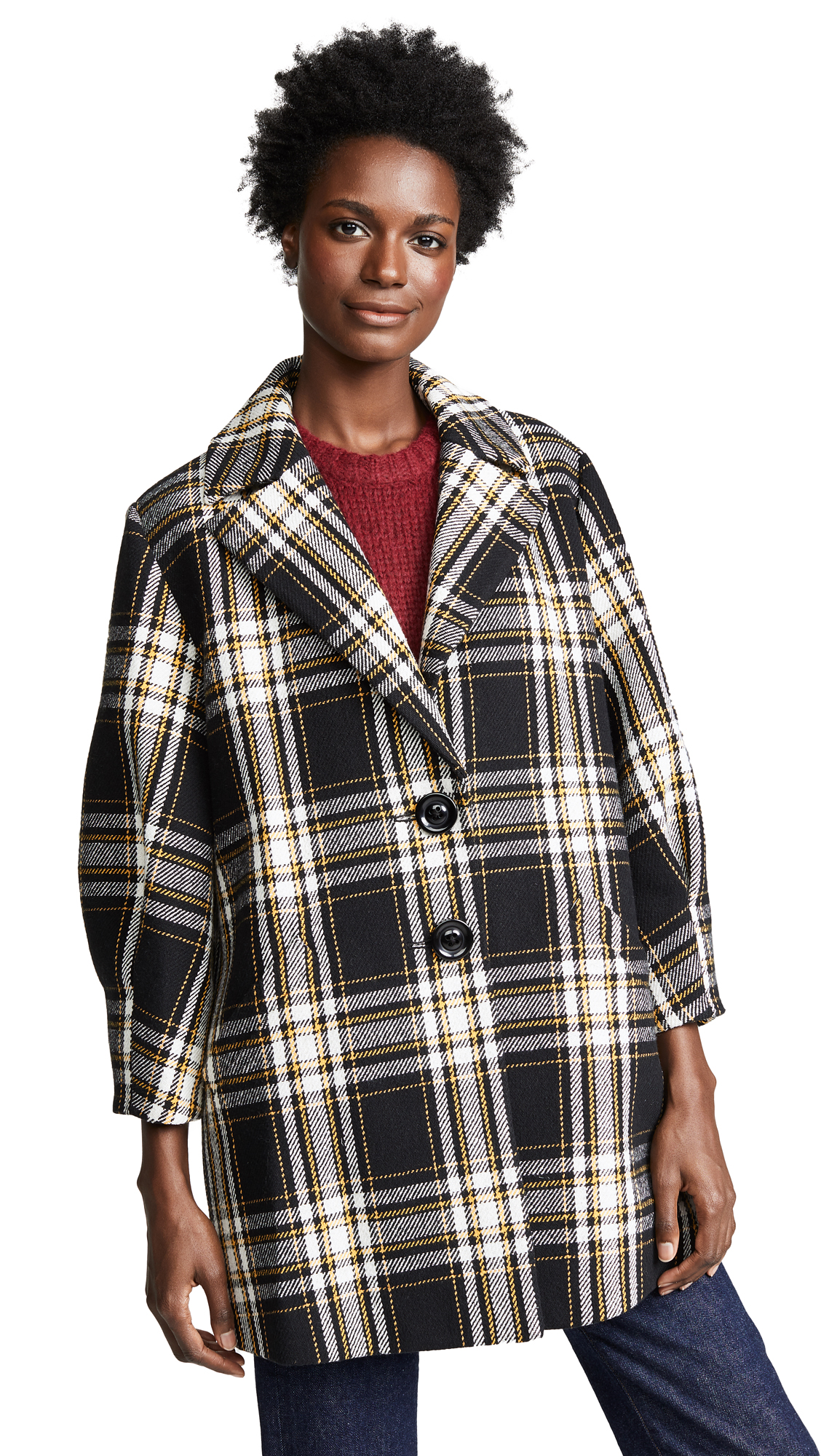 alice + olivia Lance Oversized Coat In Black/Yellow