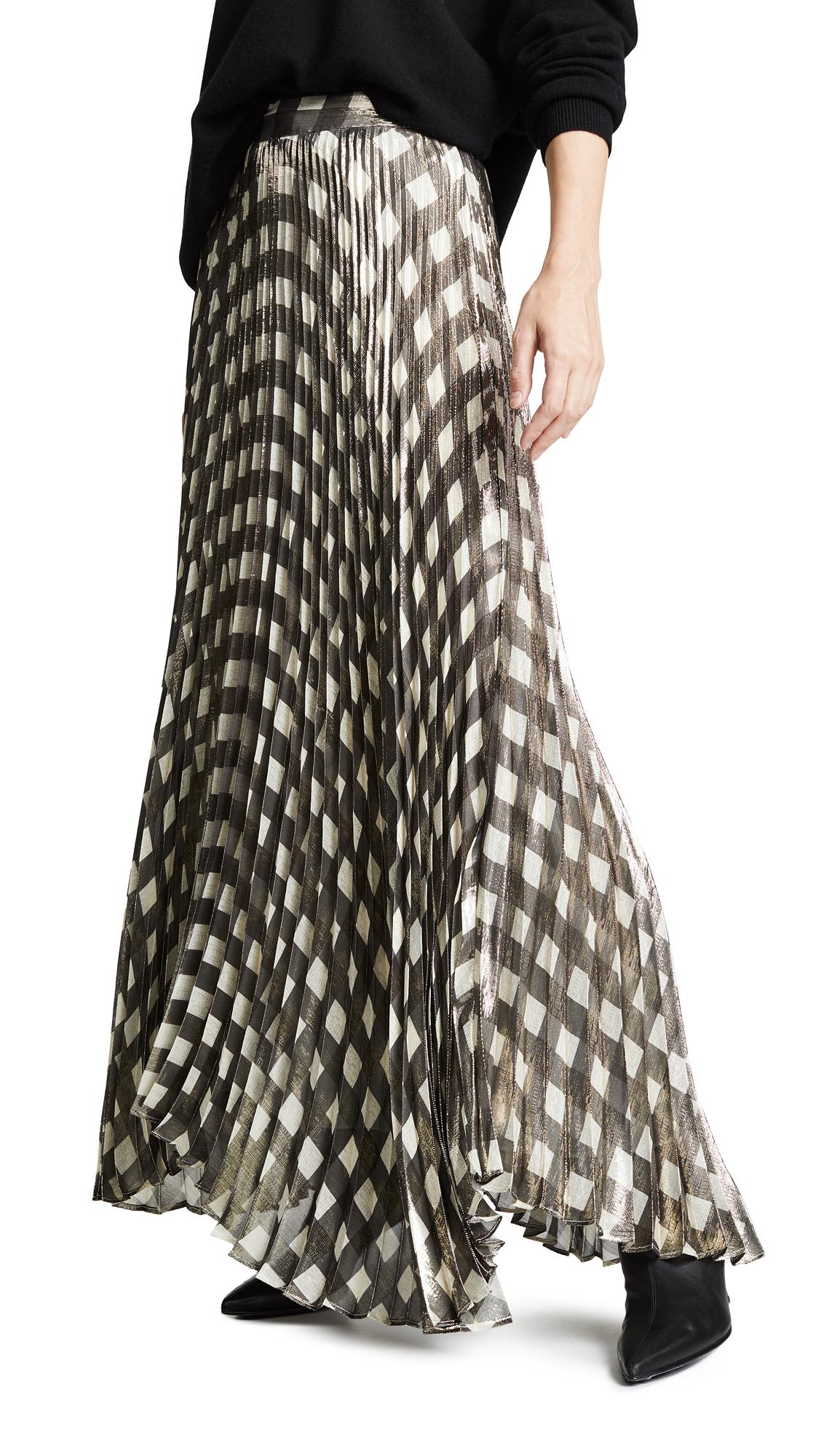 Katz Pleated Maxi Skirt, Check Plaid Soft White