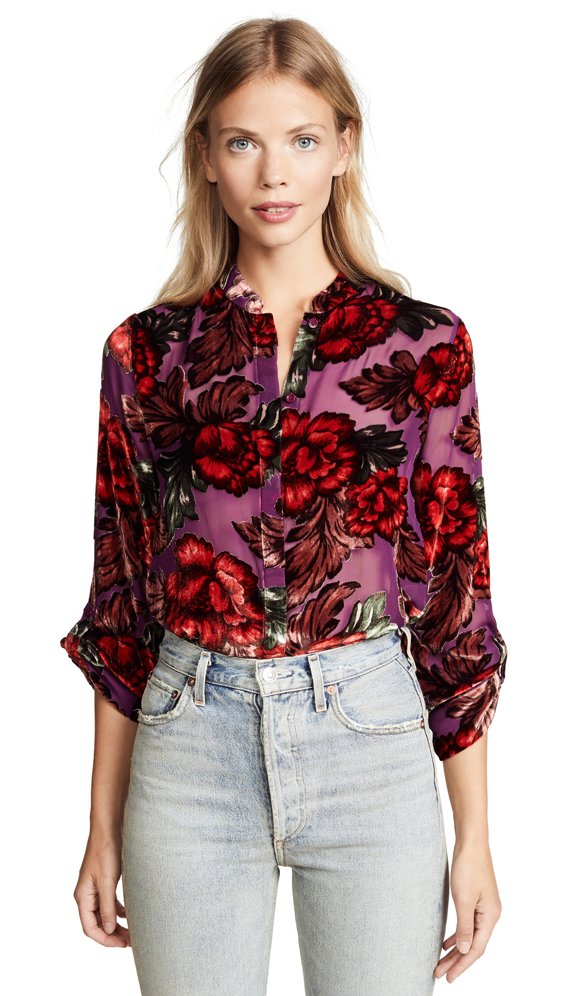 alice + olivia Eloise Blouse In Midnight Bouquet