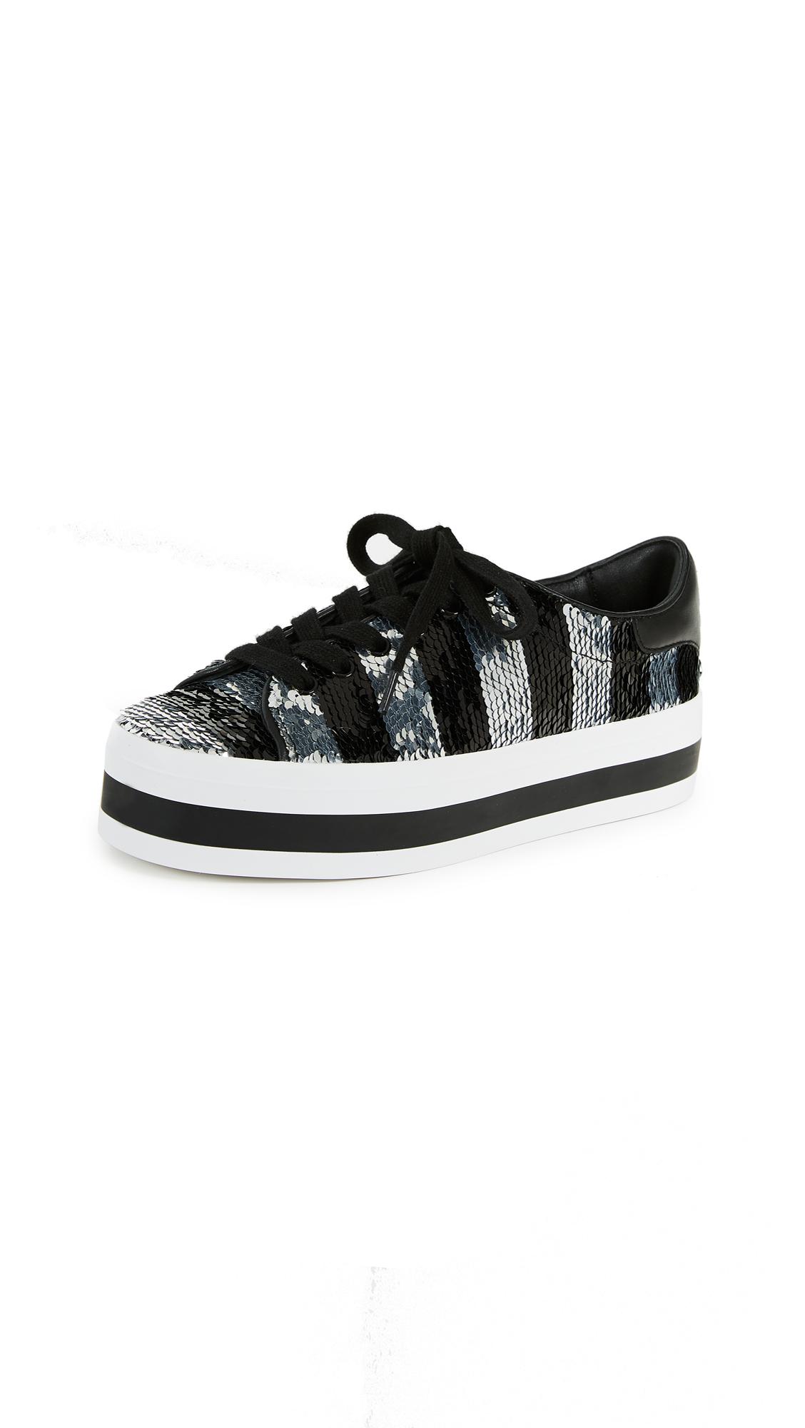 alice + olivia Ezra Glitter Sneakers - Black/Silver