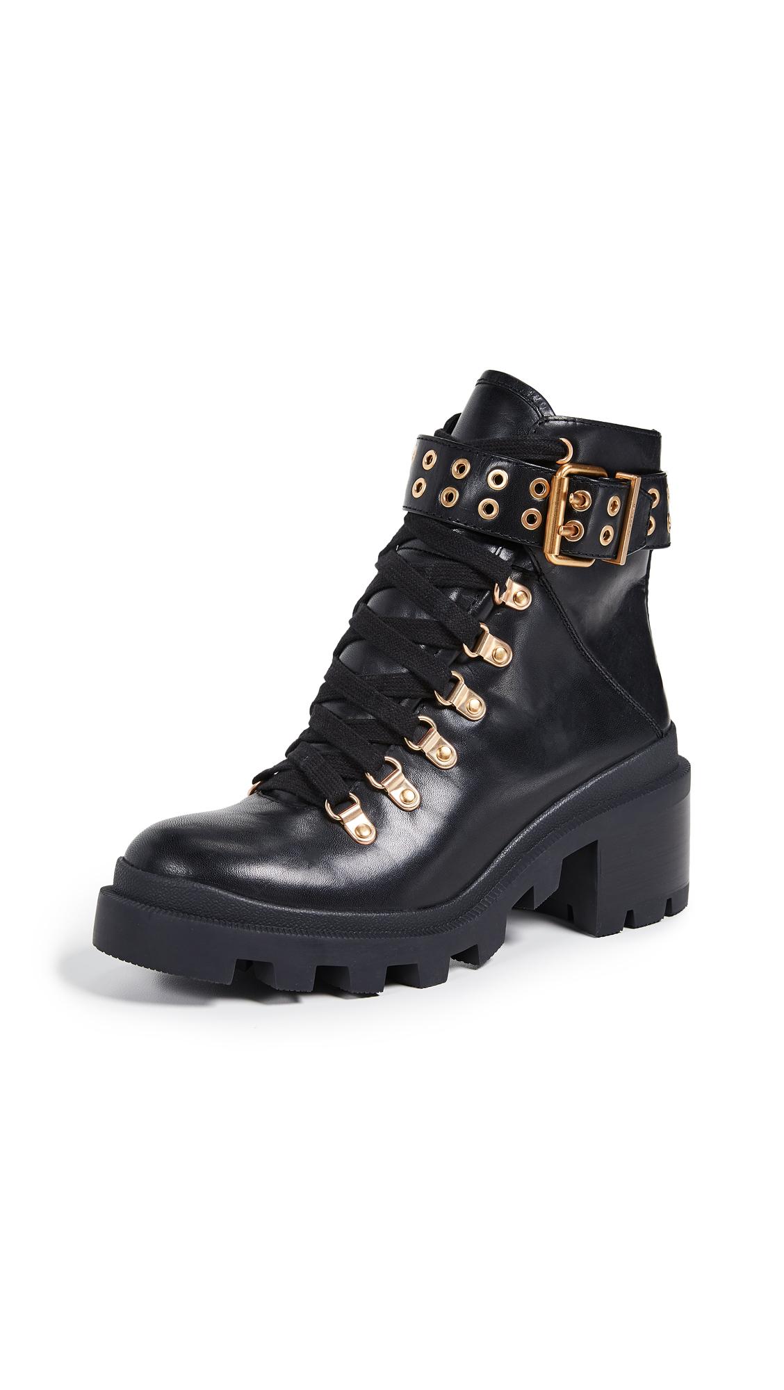 alice + olivia Havis Moto Boots - Black