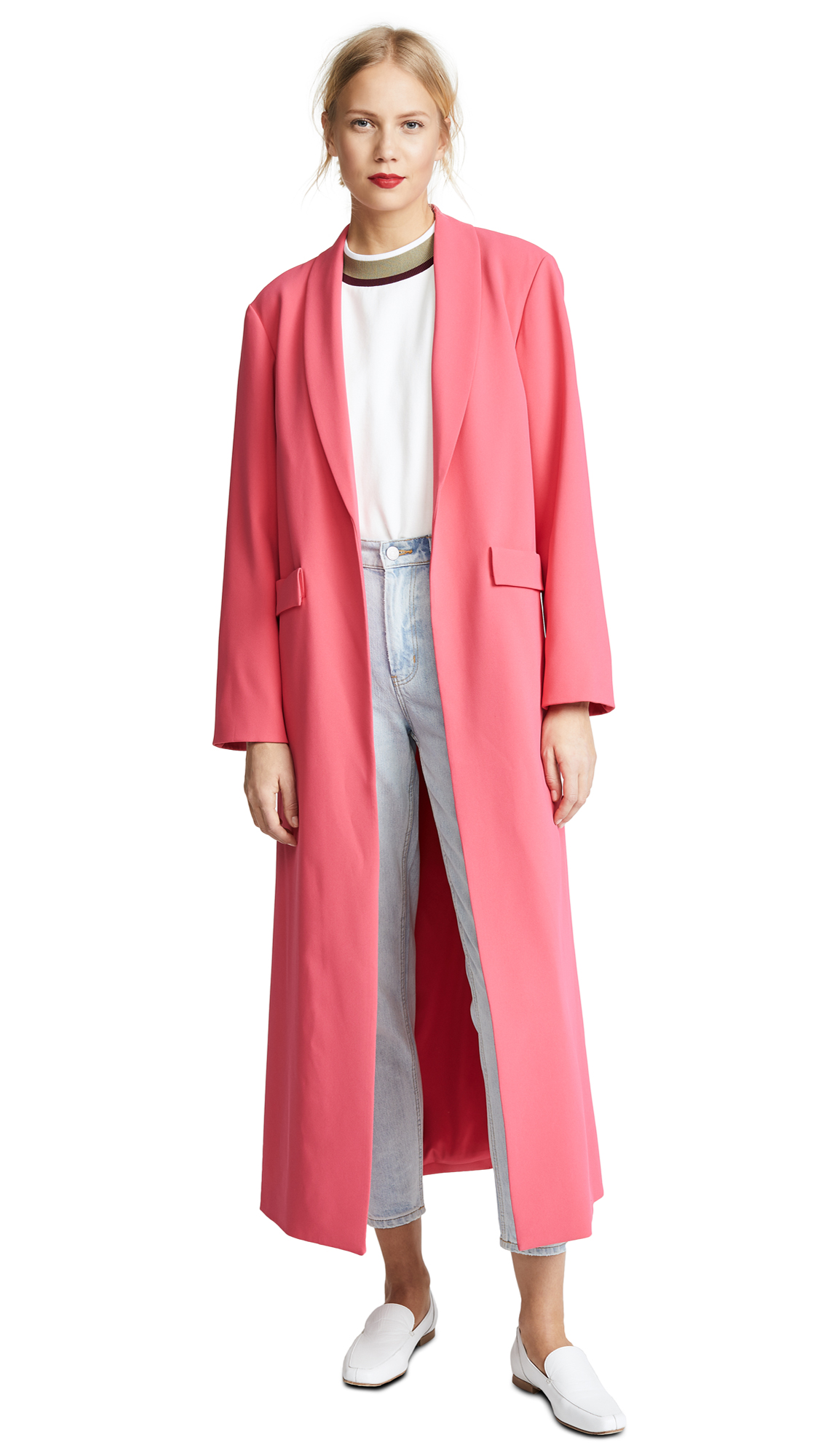 alice + olivia Angela Long Coat In Watermelon
