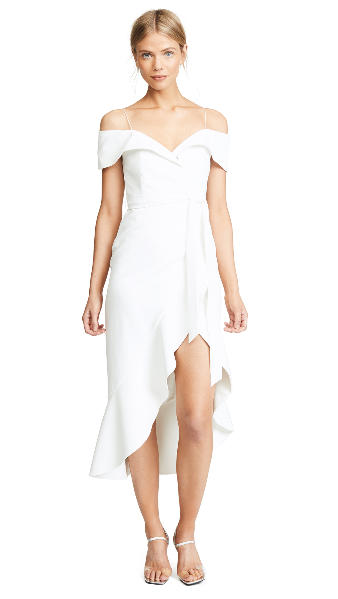5be340c5107 Alice And Olivia Josie Off-The-Shoulder Wrap-Effect Crepe Dress In ...