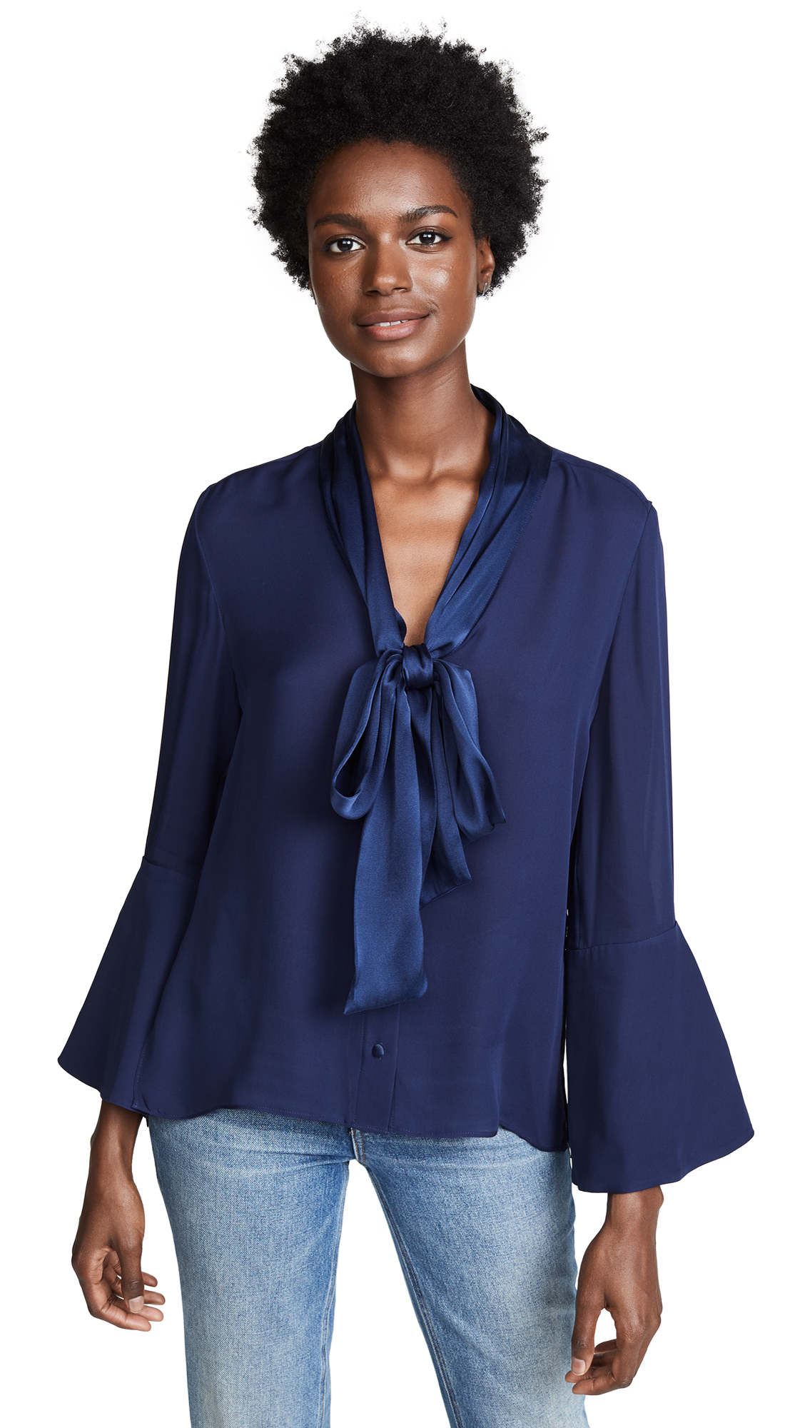 552d1fdf13922 ALICE AND OLIVIA MEREDITH TIE NECK BLOUSE