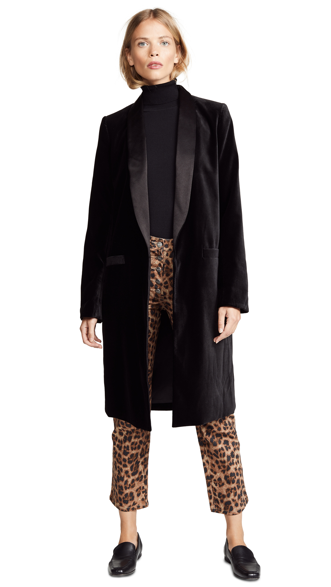 alice + olivia Kylie Long Velvet Jacket In Black