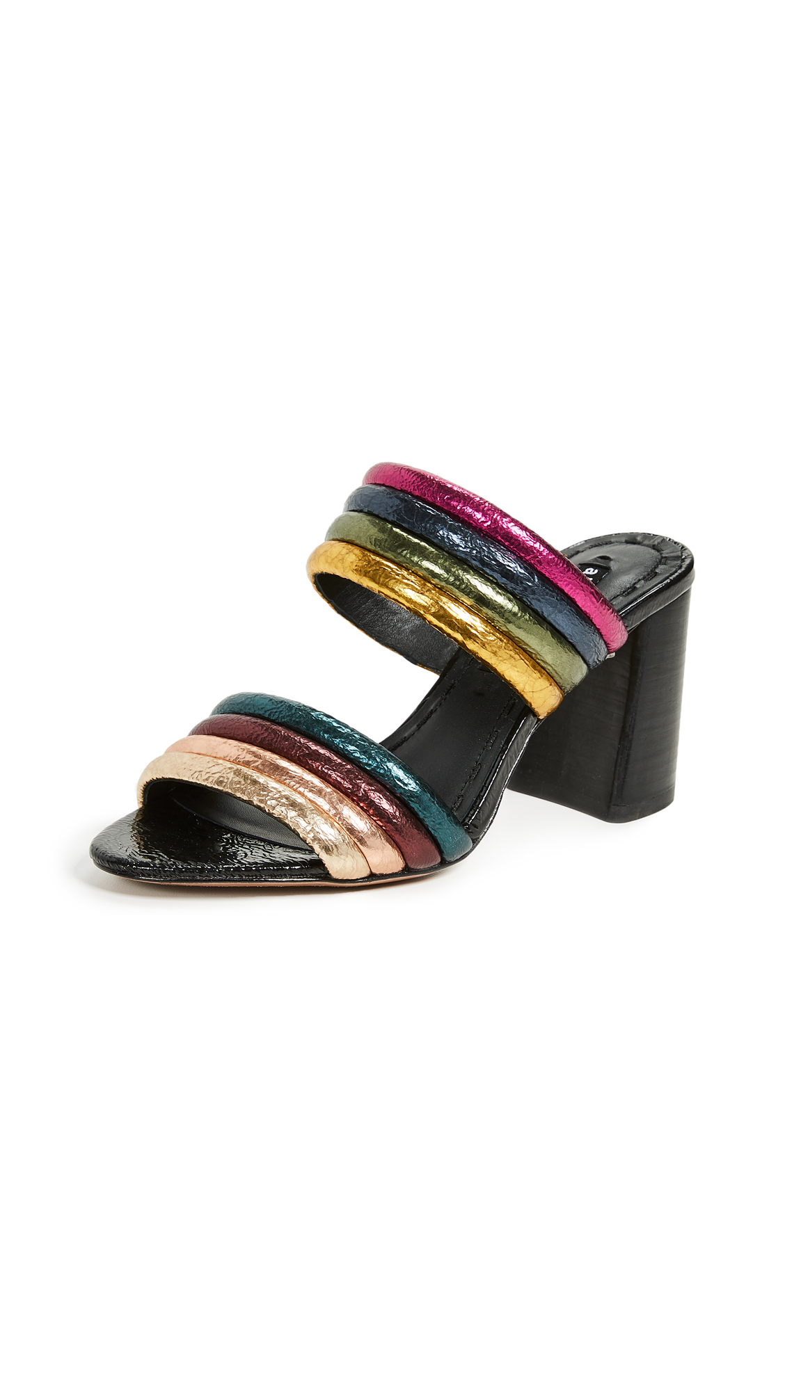 alice + olivia Lori Double Strap Sandals - Black Multi