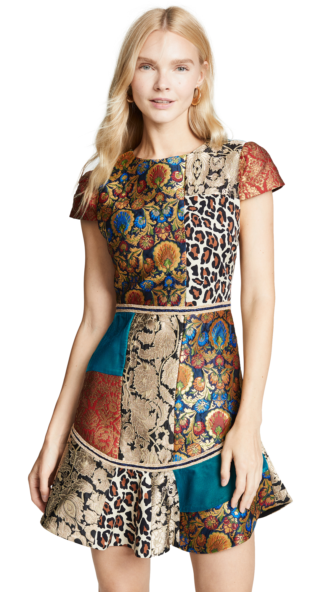 alice + olivia Rapunzel Patchwork Curved Hem Dress