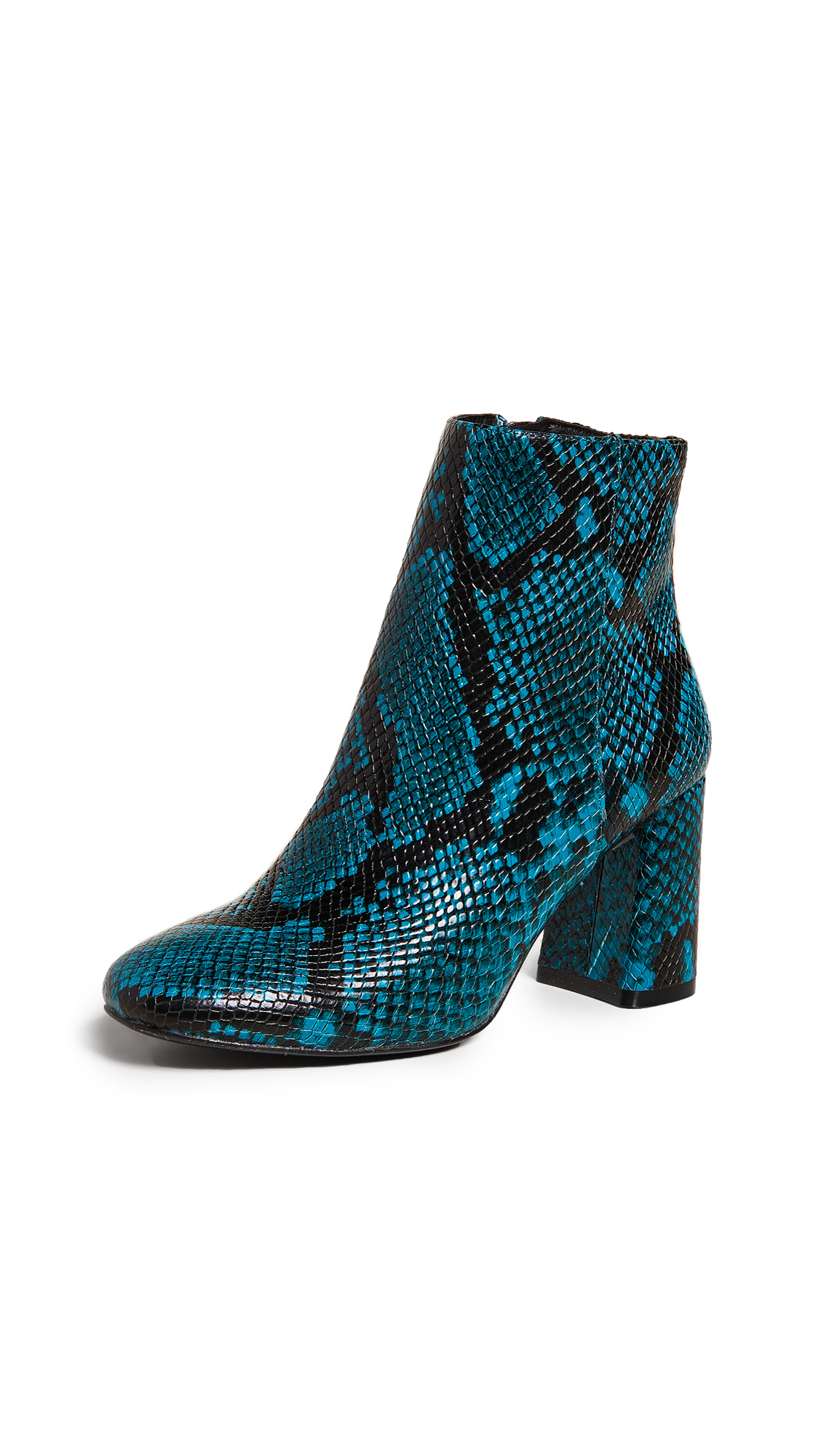 Dobrey Snake-Print Zip Booties in Teal