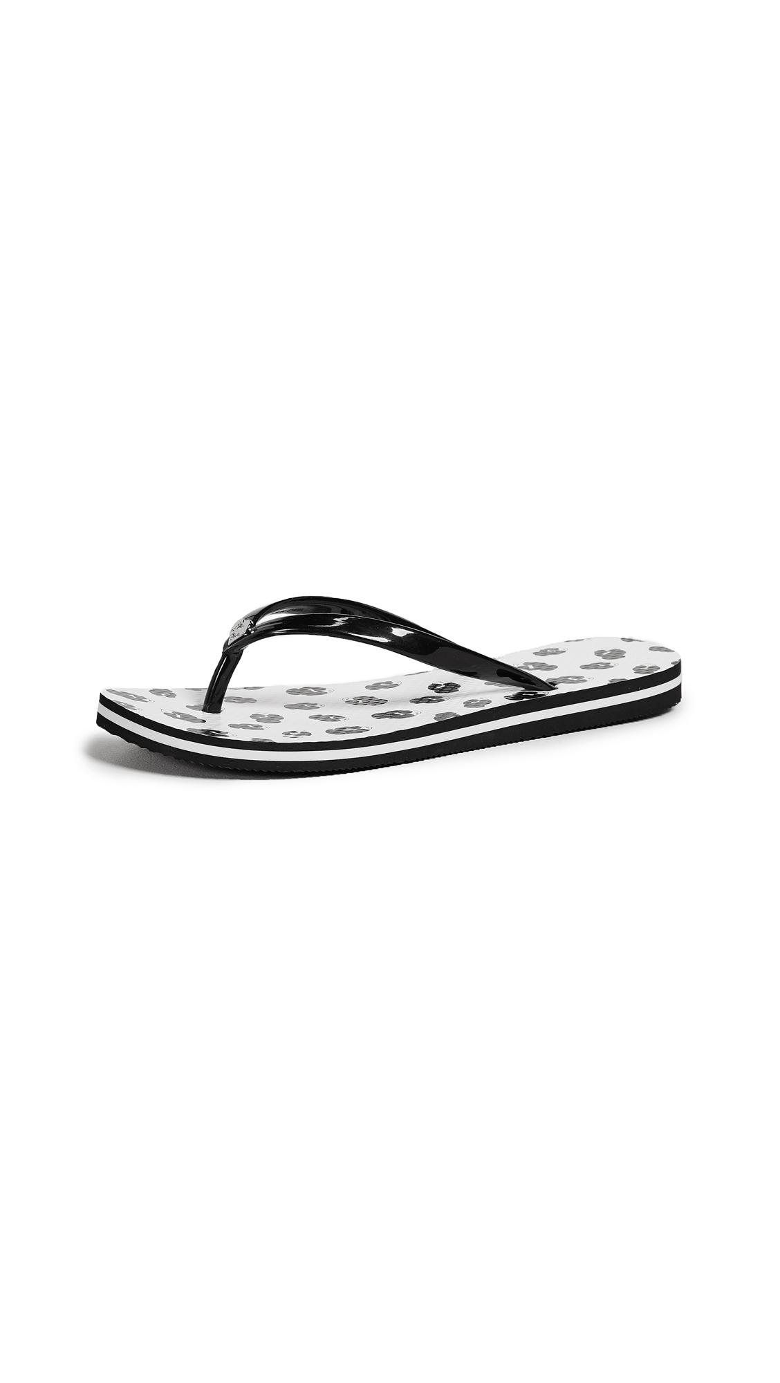 alice + olivia Eva Flip Flops - White/Black