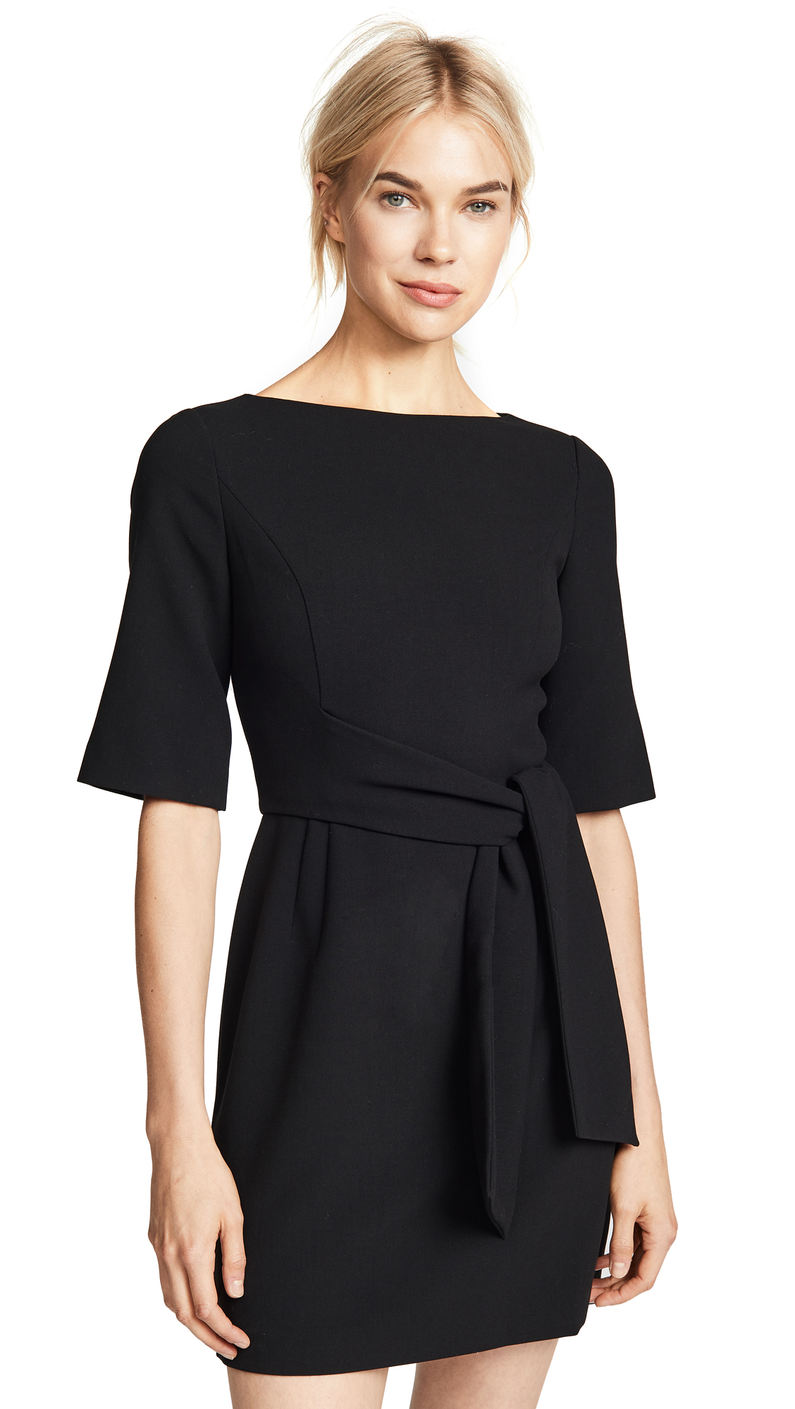 alice + olivia Virgil Boatneck Wrap Dress In Black