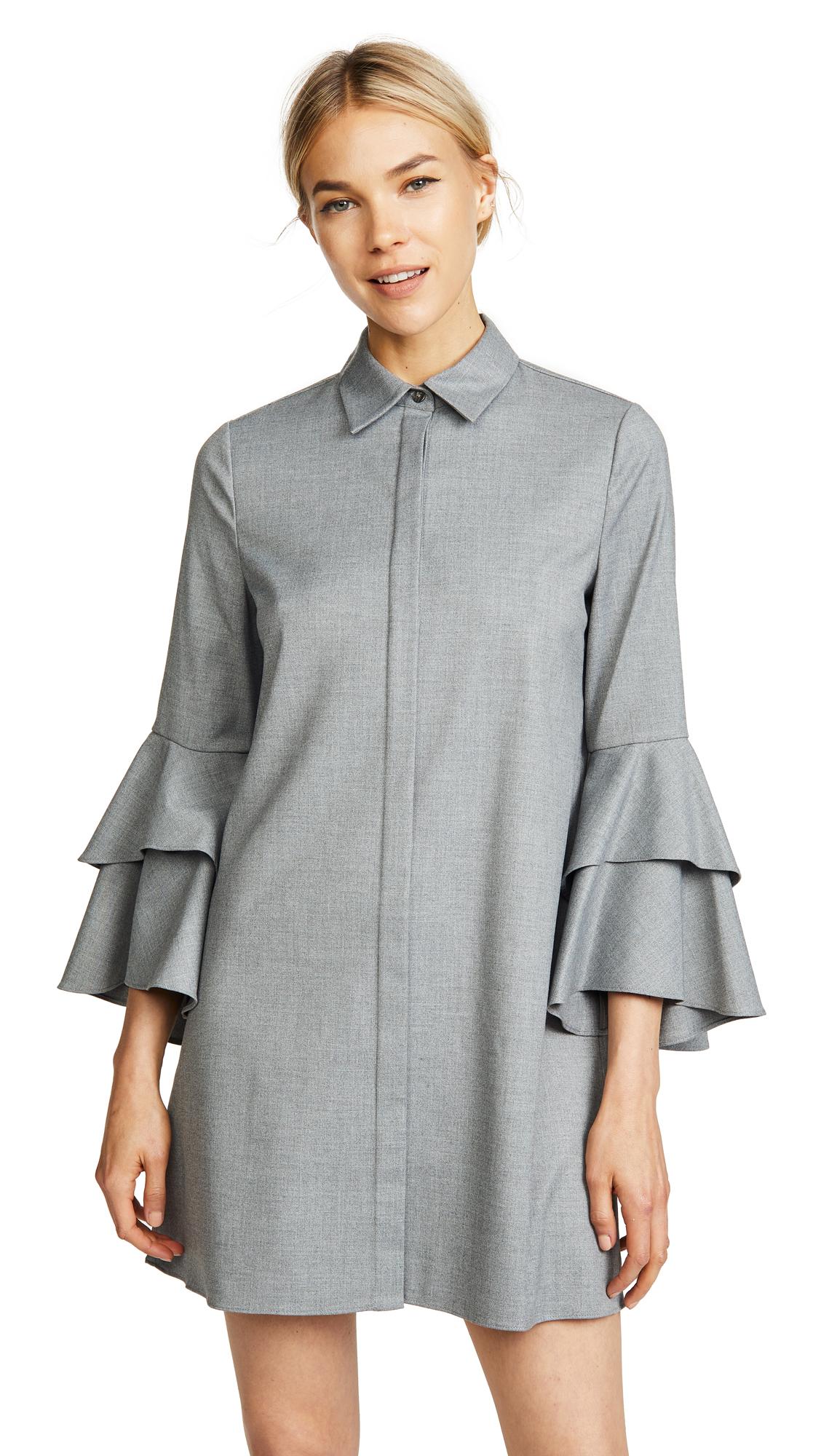 alice + olivia Jem Trumpet Dress In Light Grey