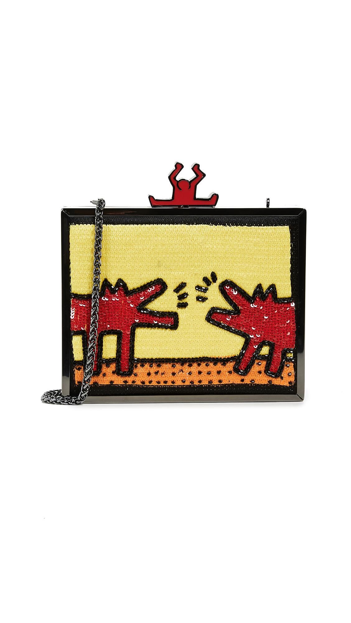 alice + olivia x Keith Haring Abbey Embellished Clutch - Barking Dog