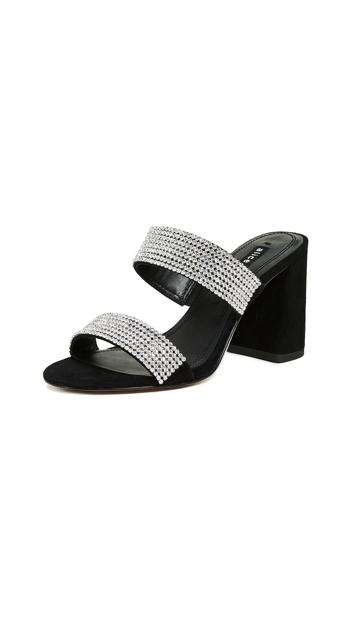 alice + olivia Laleah Double Strap Sandals - Black/Clear