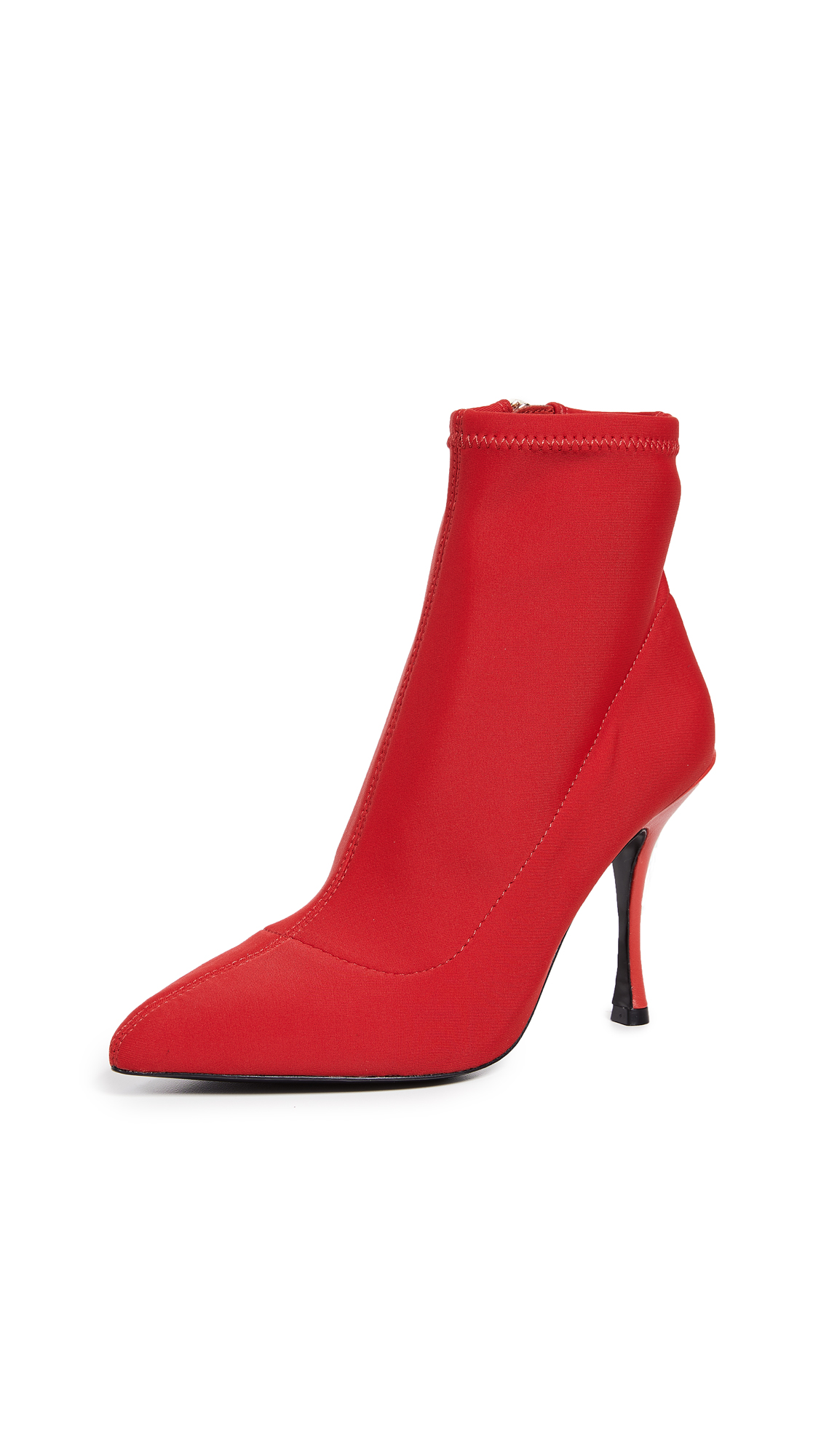 alice + olivia Irin Stretch Booties - Cherry