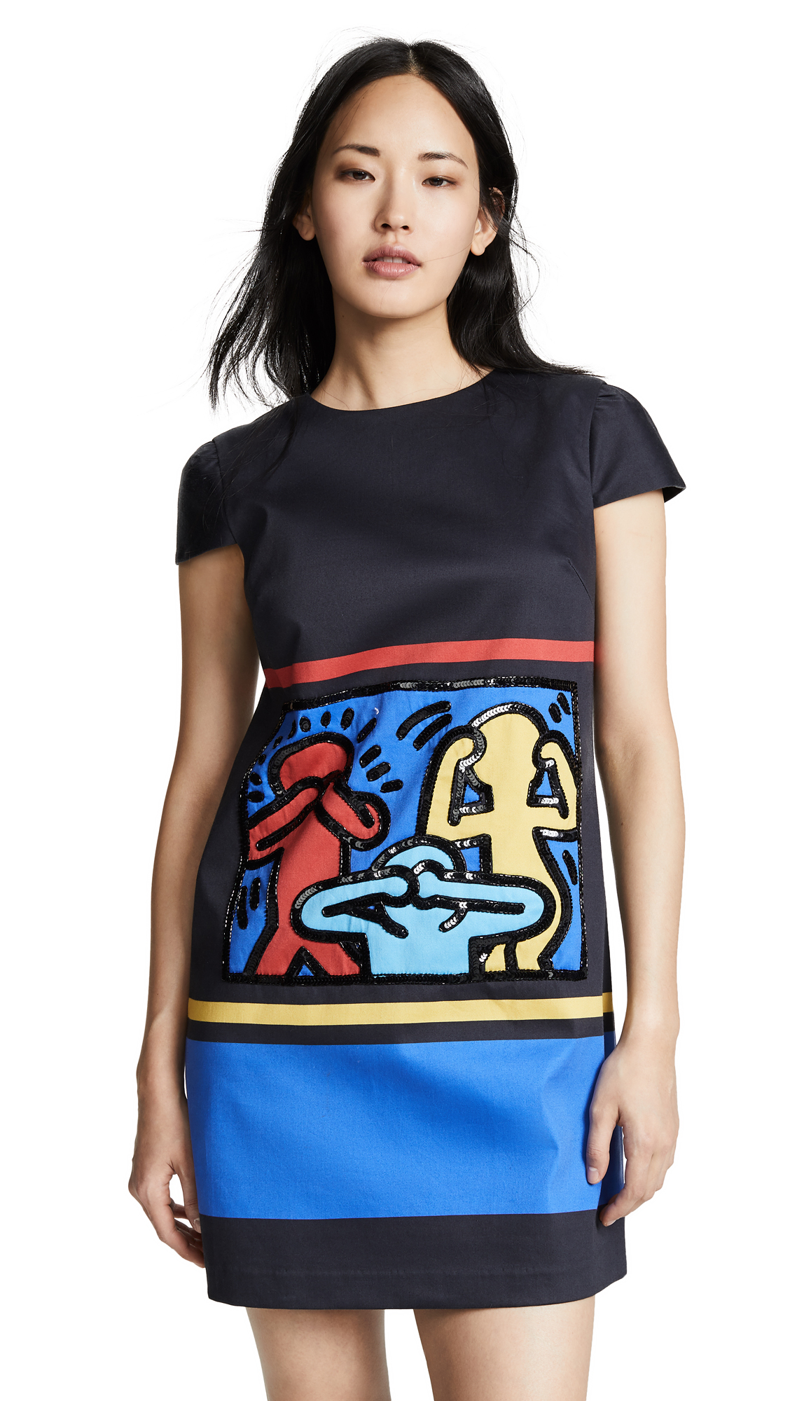 alice + olivia x Keith Haring Clyde Embellished A-Line Shift Dress - Multi