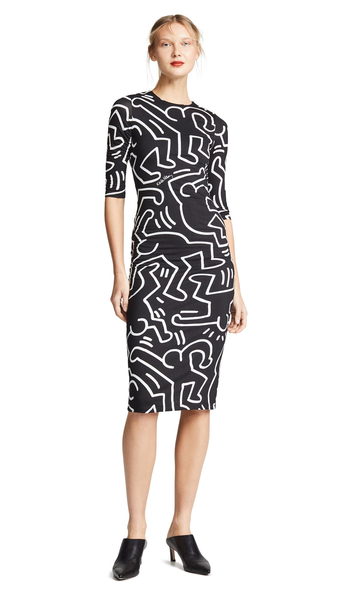 alice + olivia Keith Haring Delora Fitted Crew Neck Dress