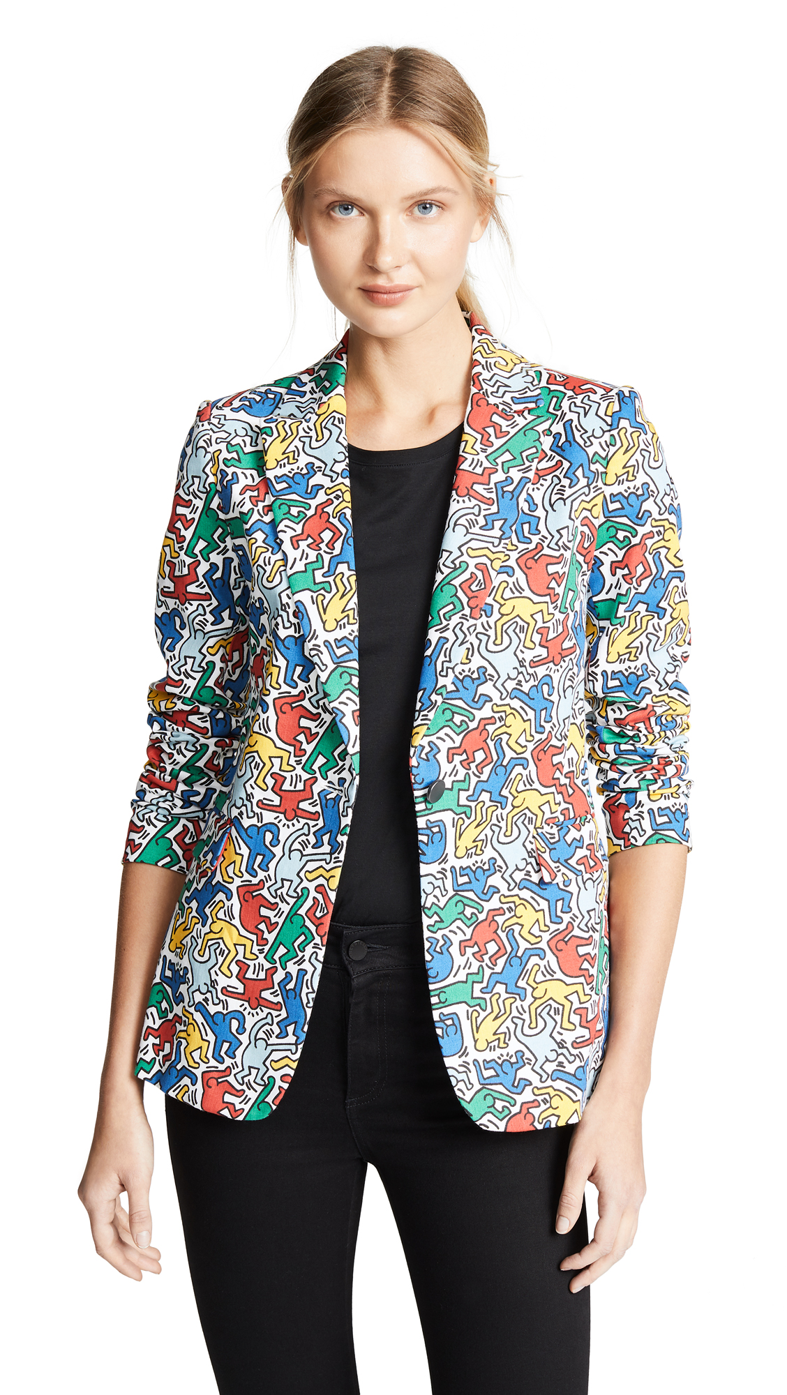 Alice And Olivia Cottons Keith Haring Macey Printed Fitted Blazer