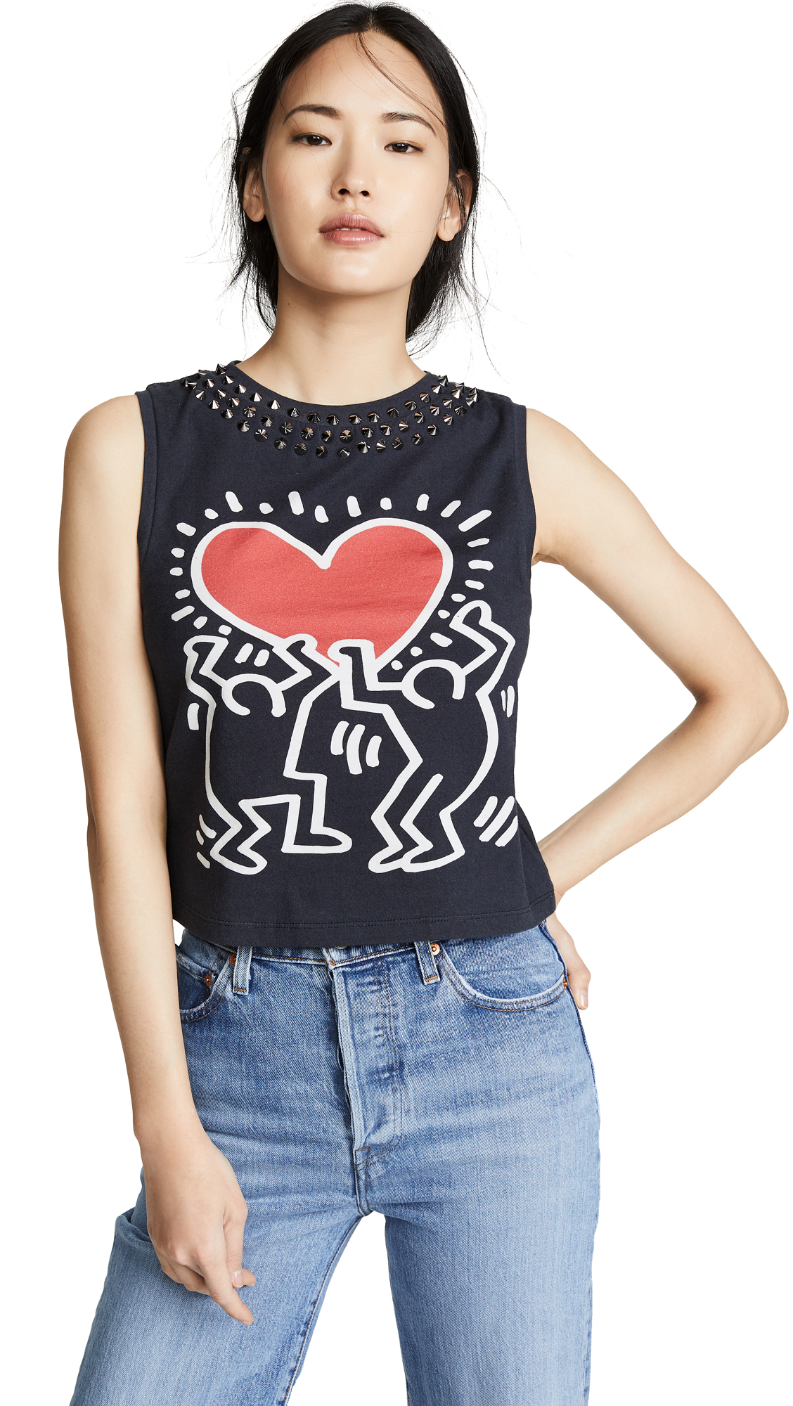 Alice And Olivia Cottons Keith Haring Cicely Studded Sleeveless Tee