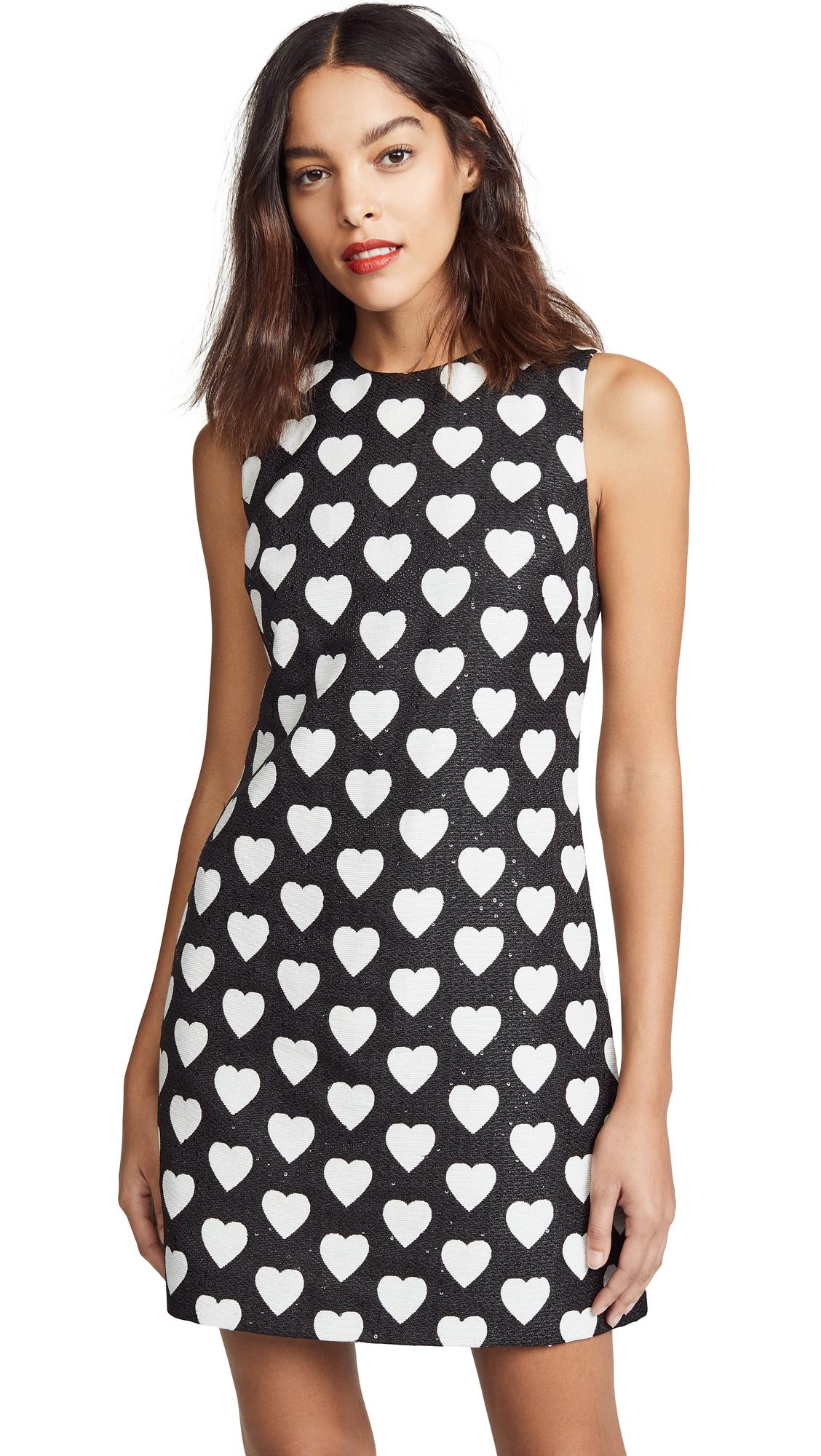 alice + olivia Coley Crew Neck A -Line Dress - Black/White