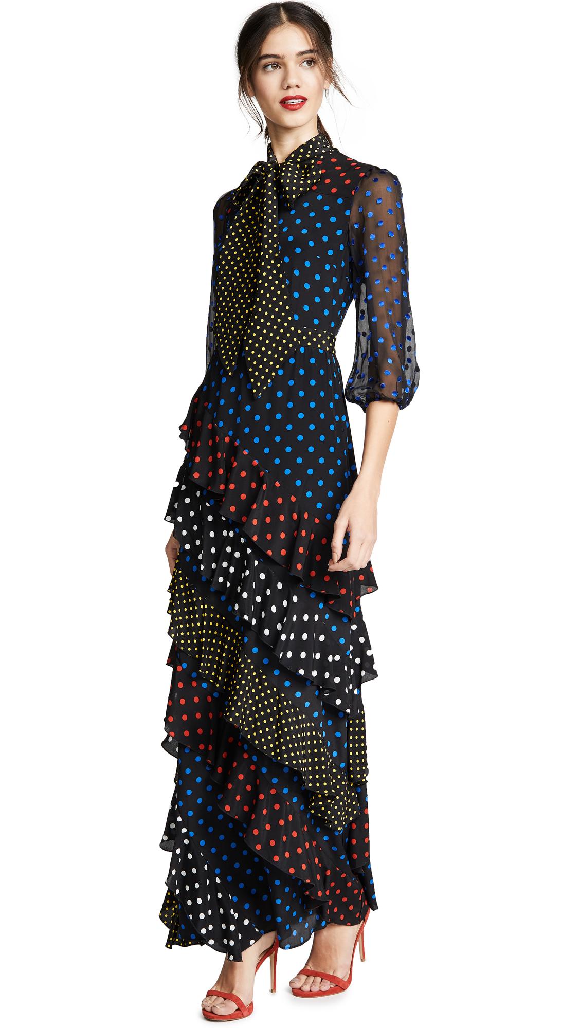 alice + olivia Lessie Tie Neck Blsn Sleeve Ruffle Dress - Med Polka Dot Black/Cobalt
