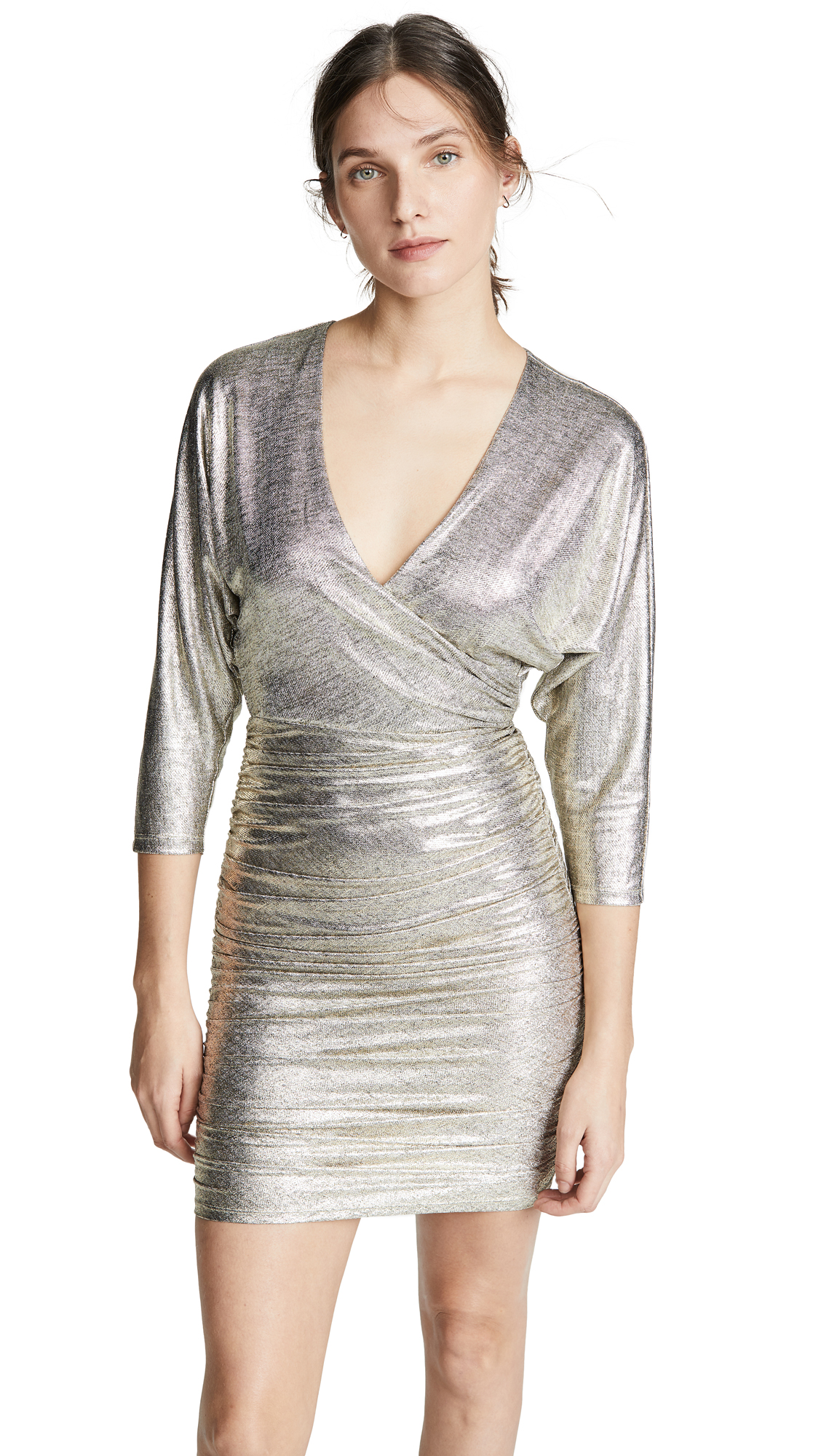alice + olivia Pace Bat Wing Sleeve Drapey Dress - Silver