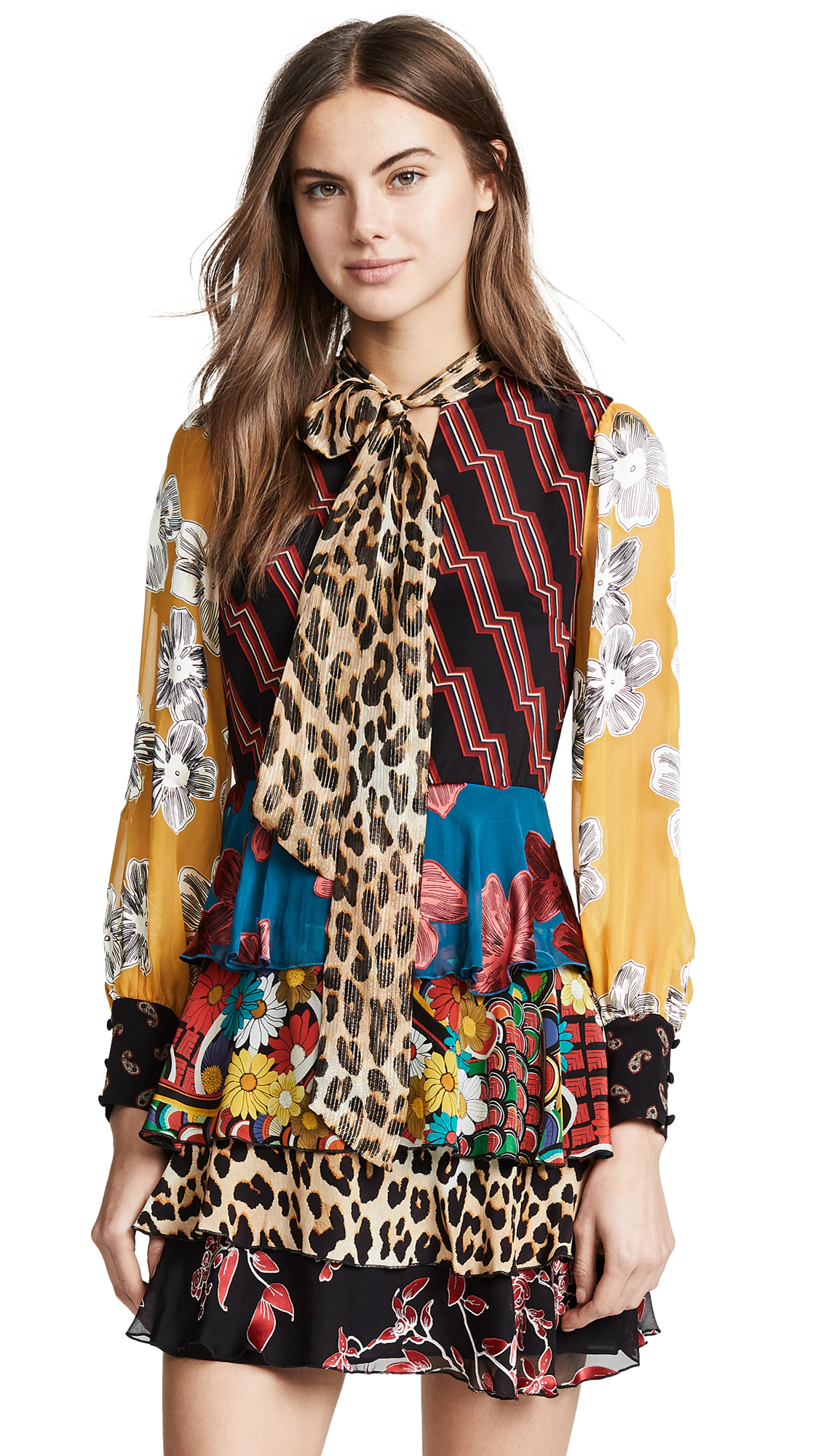 alice + olivia Dasha Tiered Ruffle Dress - Zigzag Stripe Black/Multi