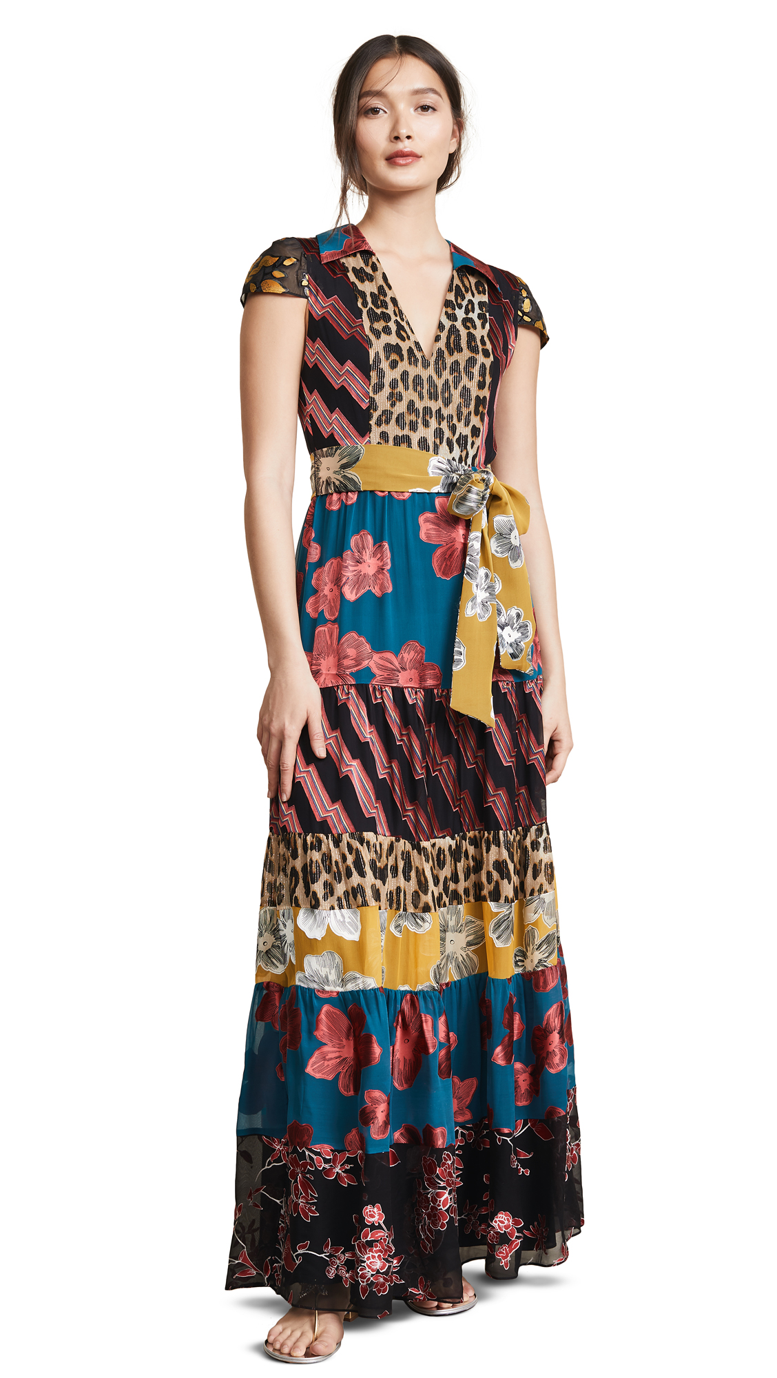 alice + olivia Della Maxi Dress with Waist Tie - Daisy Teal/Cherry