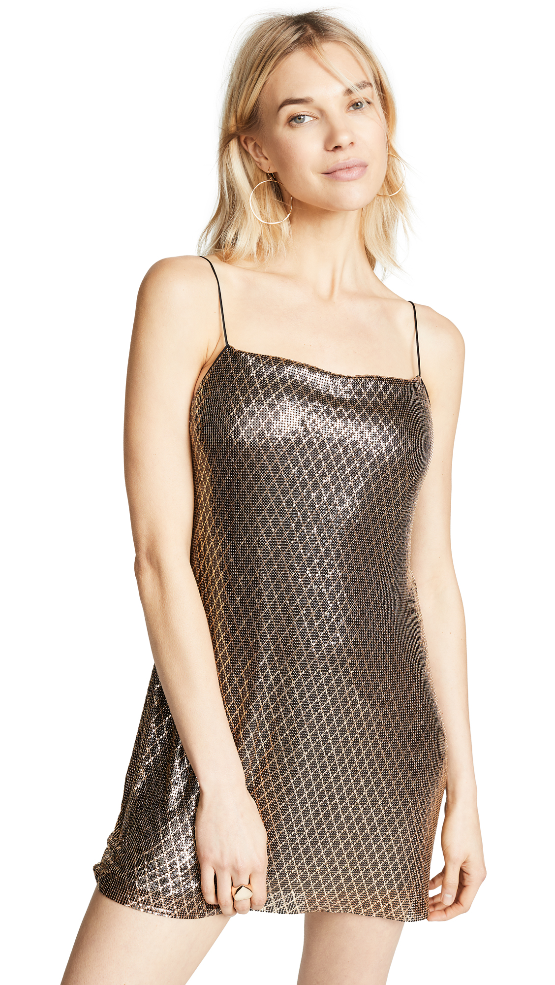 alice + olivia Harmony Chainmail Mini Slip Dress - Black/Gold