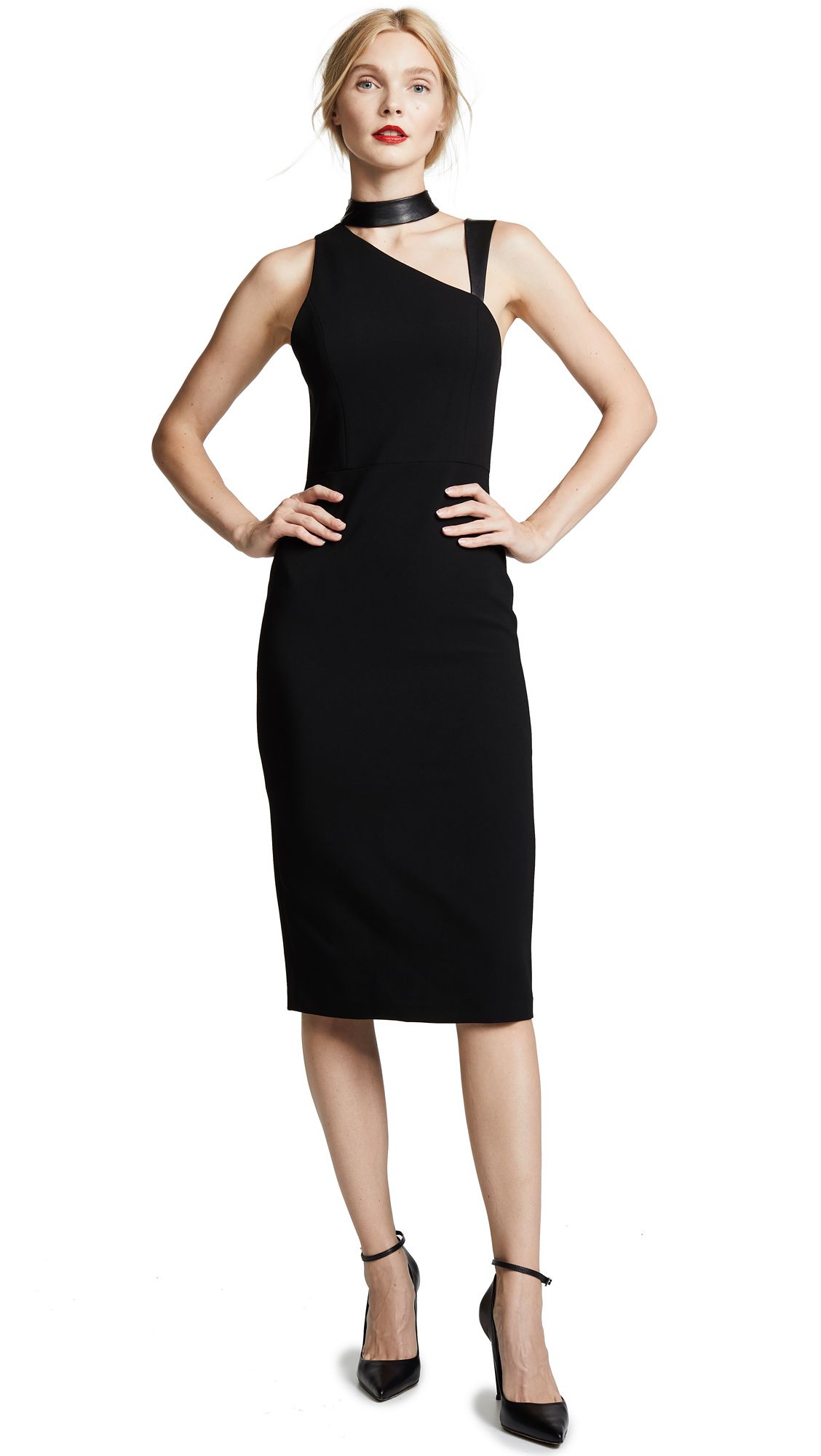 alice + olivia Jona Mock Neck Cutout Dress In Black