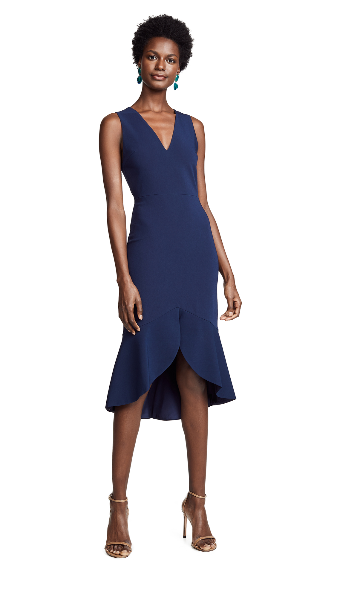 Blakesley Split Front Fit & Flare Dress in Navy