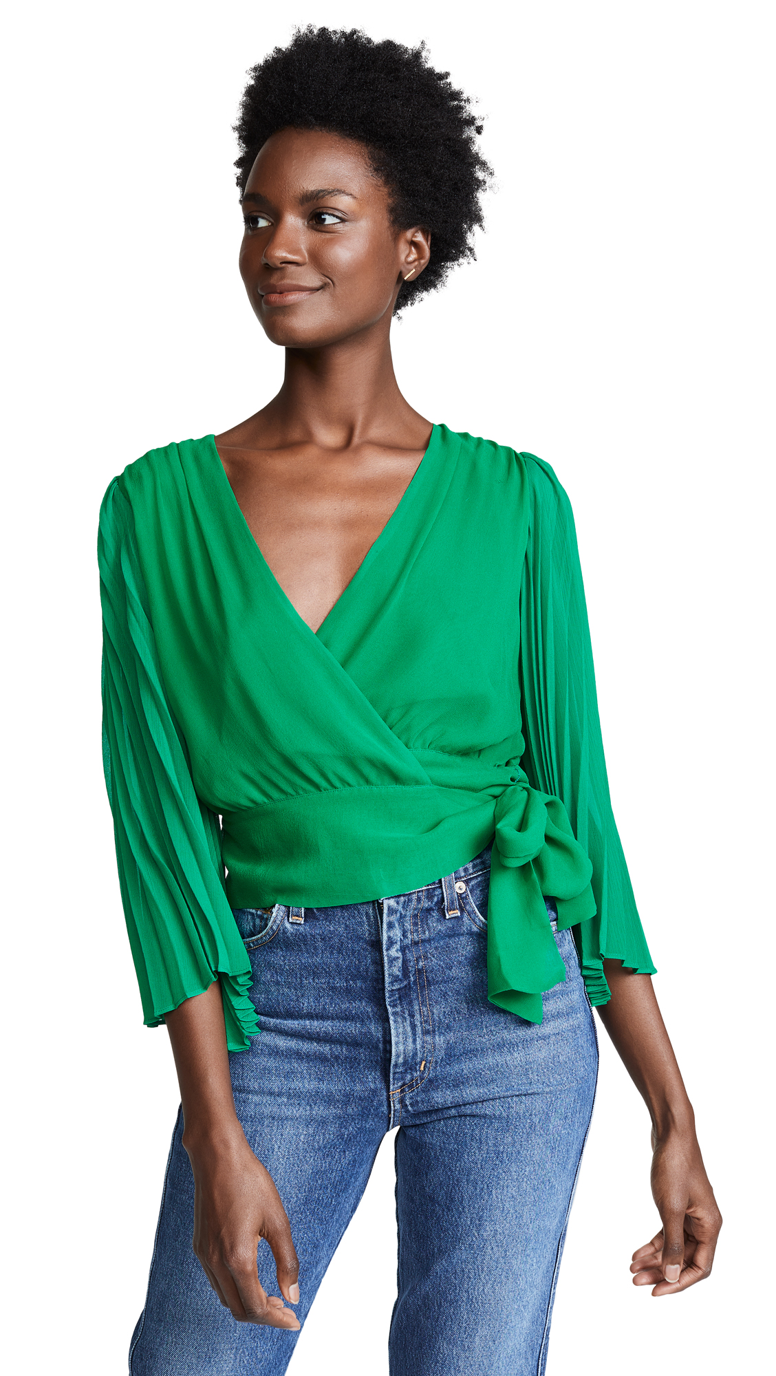 Bray Pleat Sleeve Wrap Top, Juniper