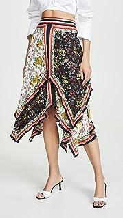 alice + olivia Maura 层褶方巾式半身裙