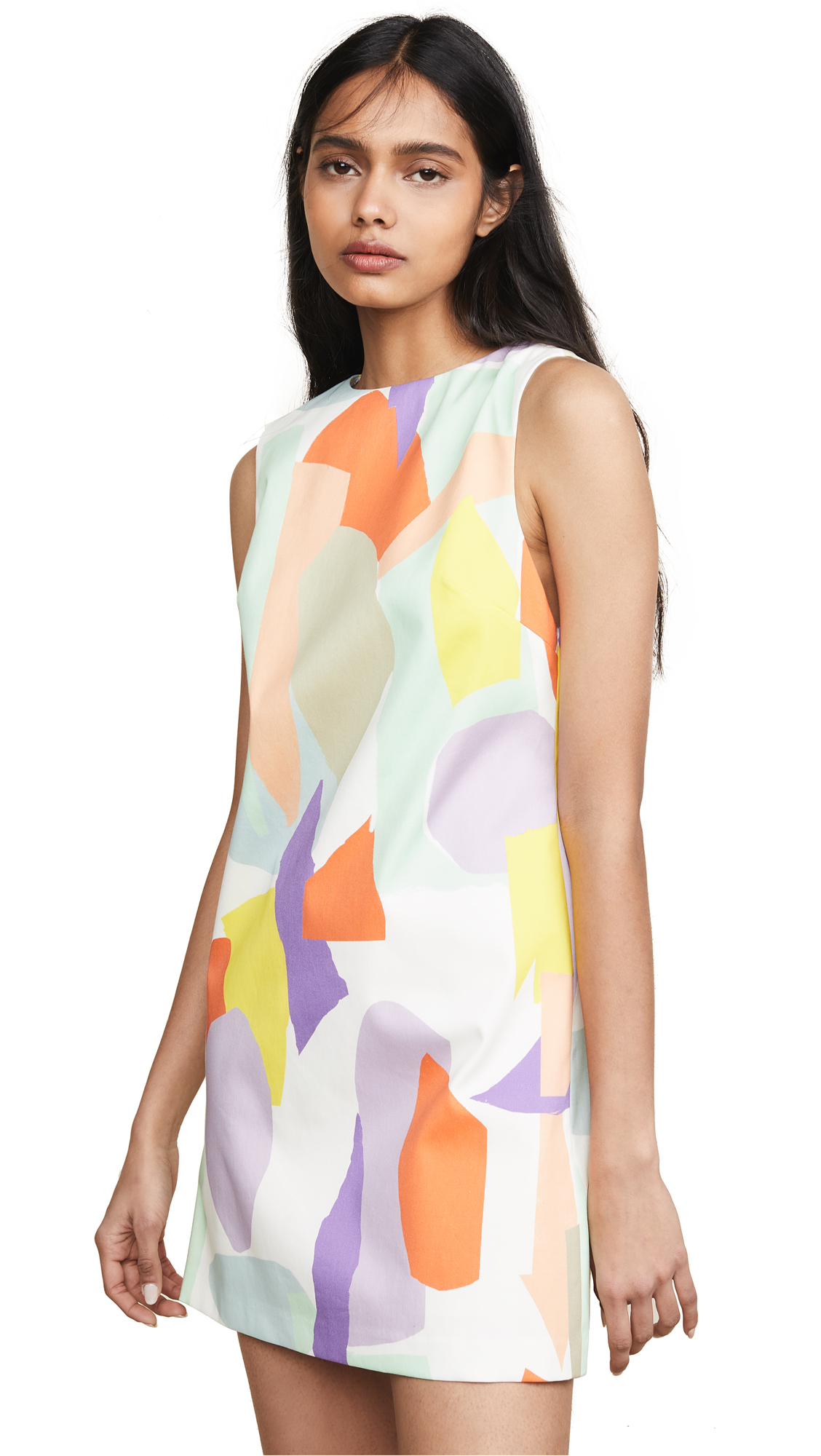 alice + olivia Clyde Shift Dress - Geo Collage Cream/Mu