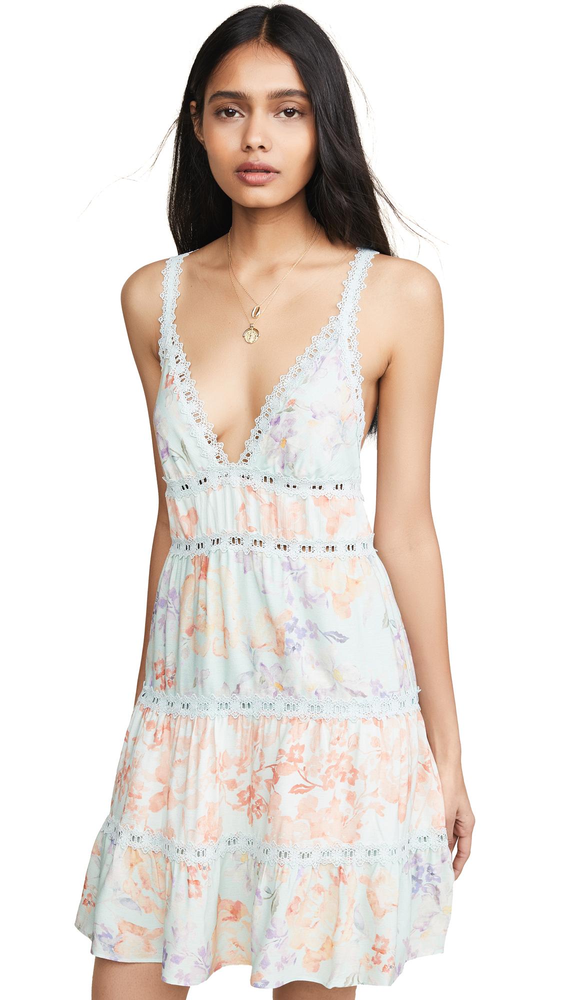 alice + olivia Karolina Halter Mini Dress - Water Petal Venus Multi