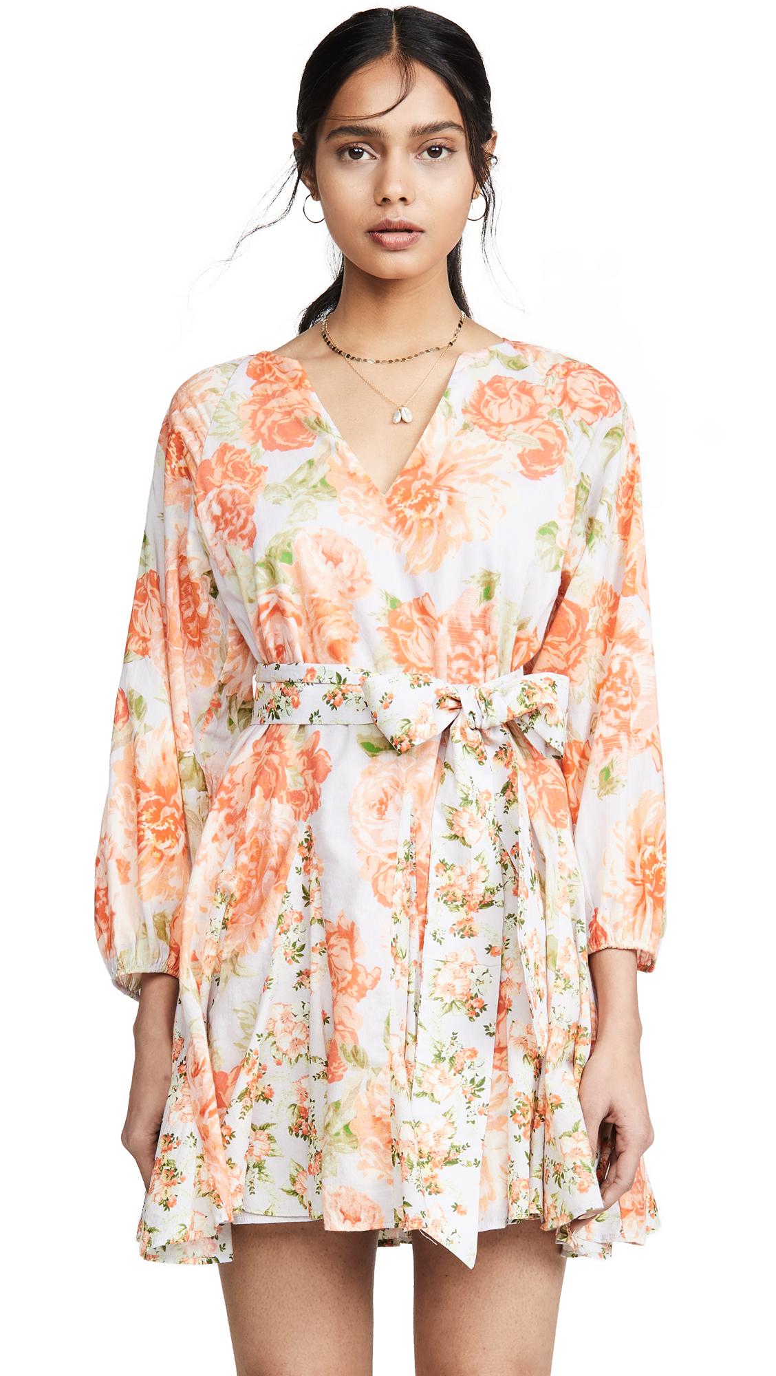alice + olivia Pali Keyhole Godet Dress - Posy Garden Dusty Orchid/Multi