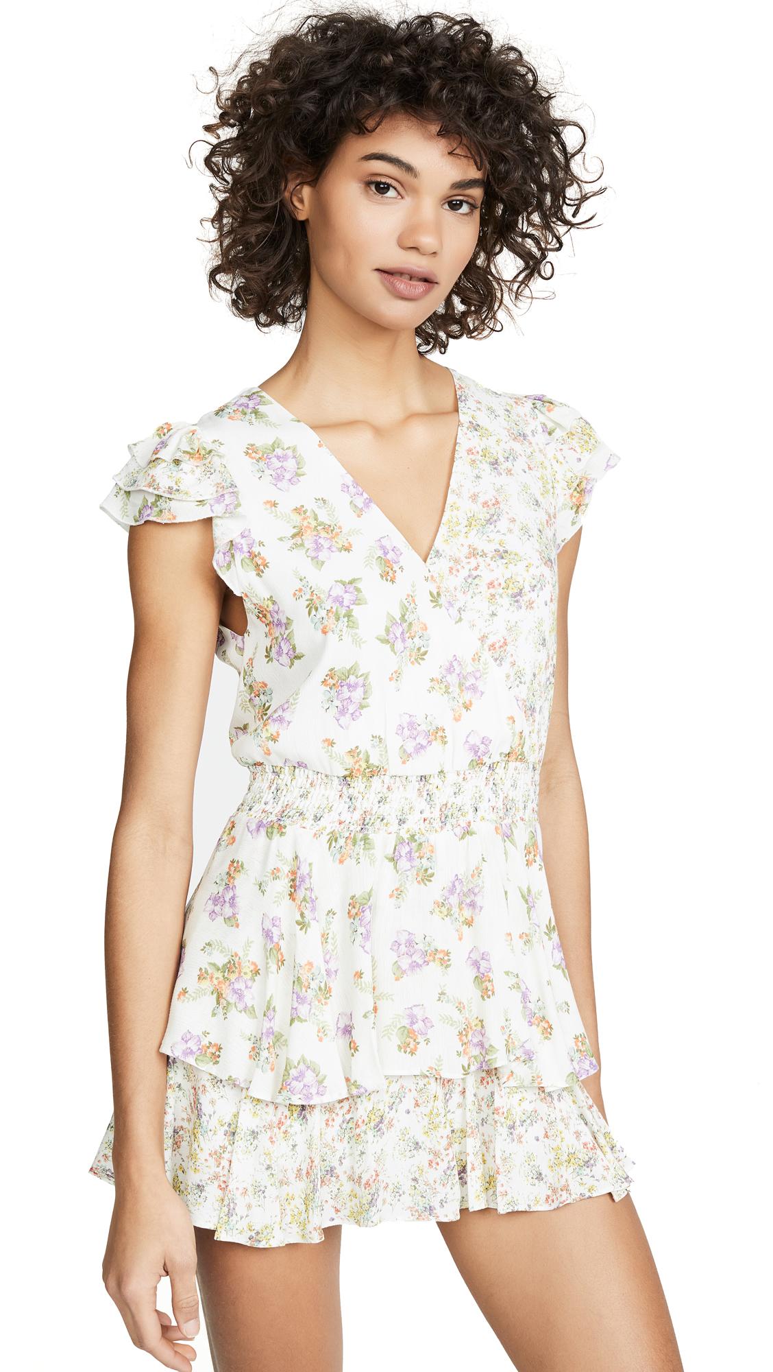 alice + olivia Mariska Ruffled Skort Romper - Hibiscus Flower Cream/Multi