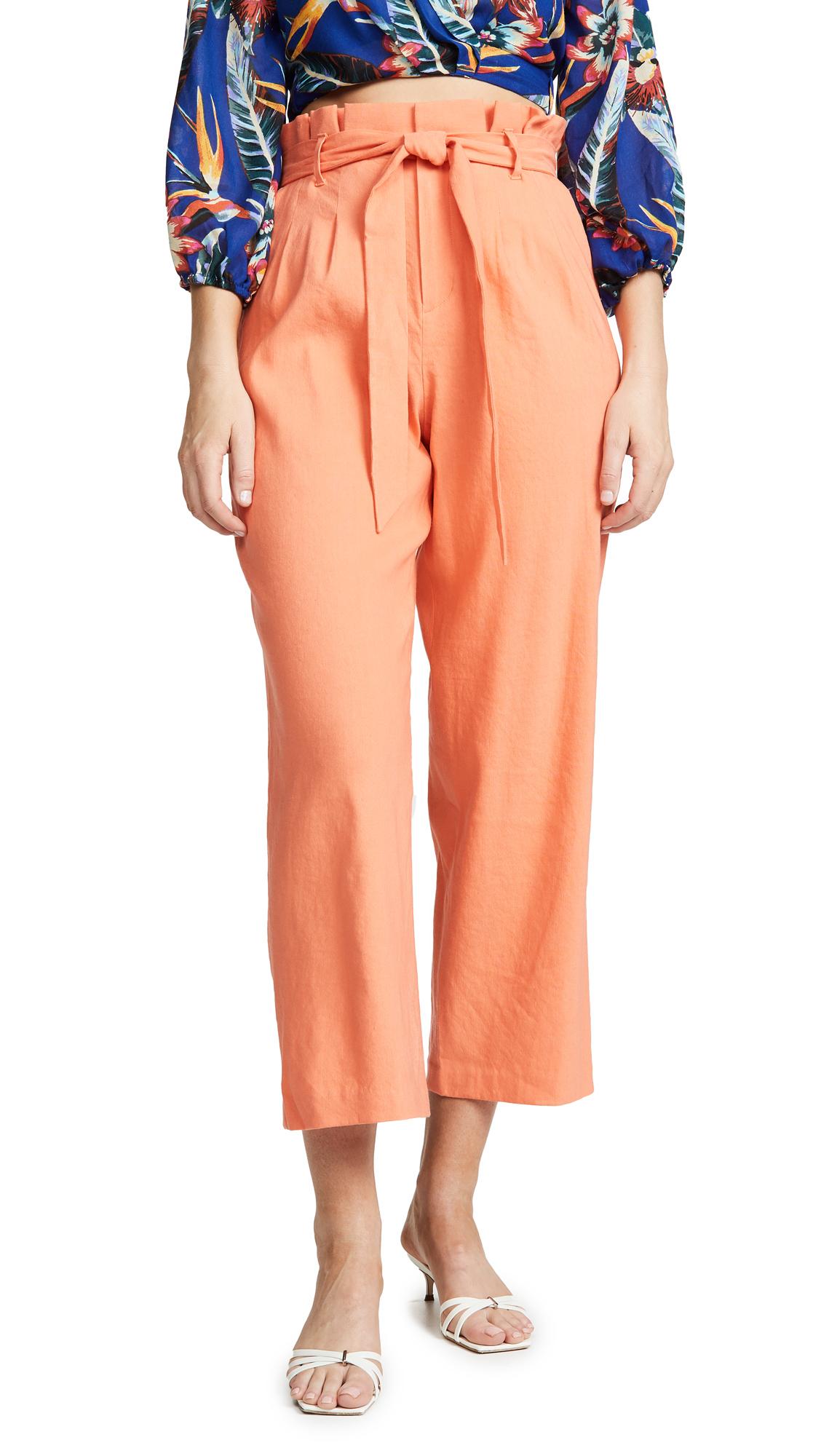 alice + olivia Farrel Paper Bag Pleated Pants - Coral