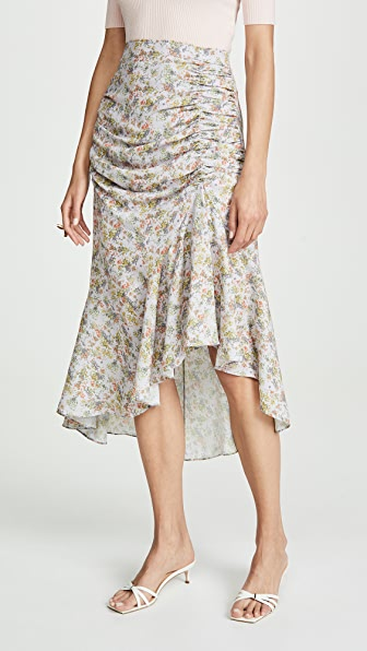 alice + olivia Freida Rouched High Midi Skirt