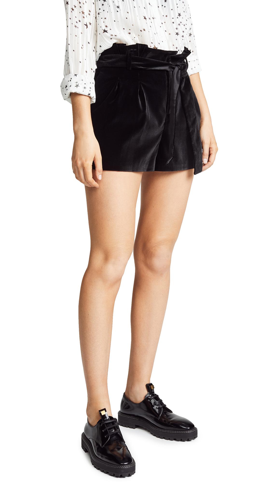 alice + olivia Laurine Paper Bag Shorts - Black