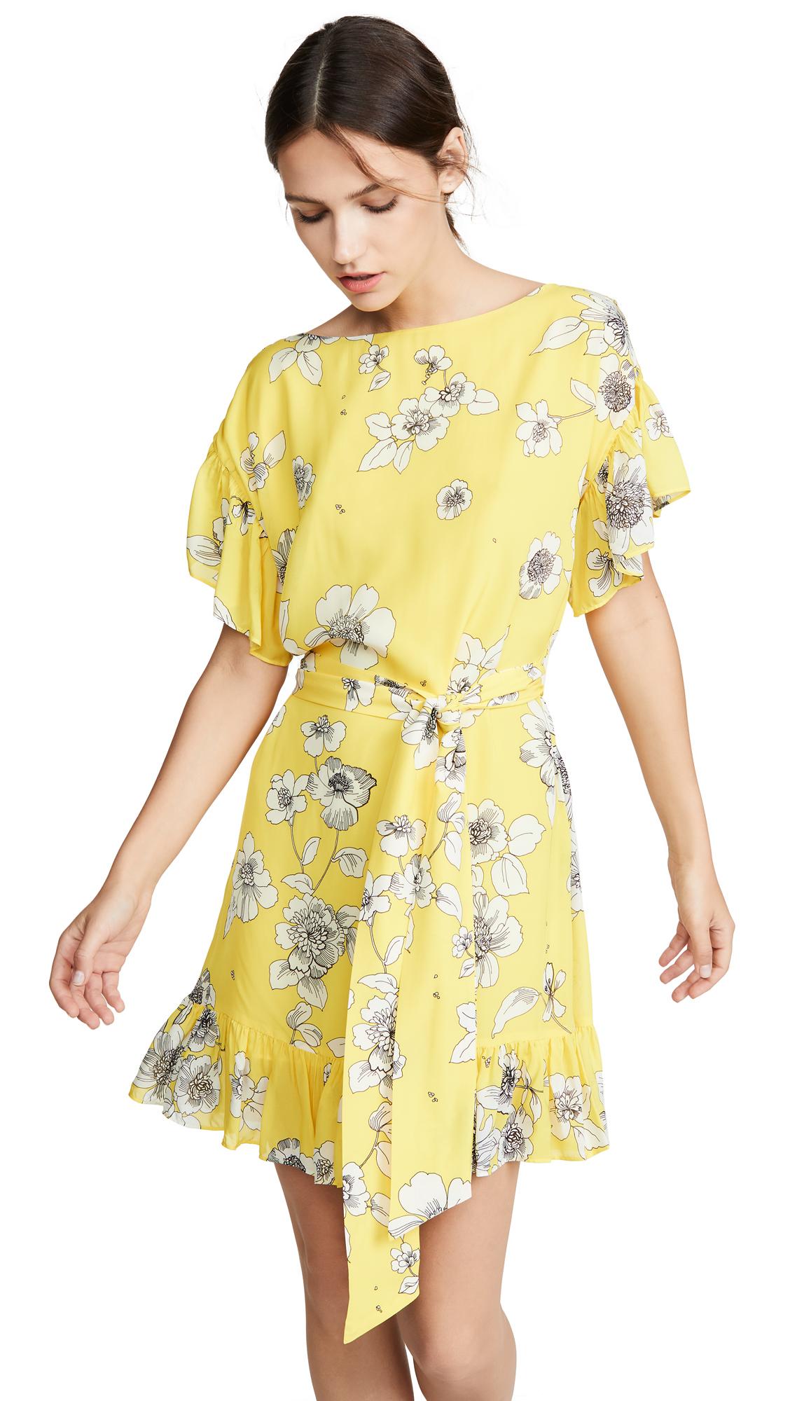 alice + olivia Ellamae Drop Shoulder Ruffle Sleeve Dress - Begonia Citrus