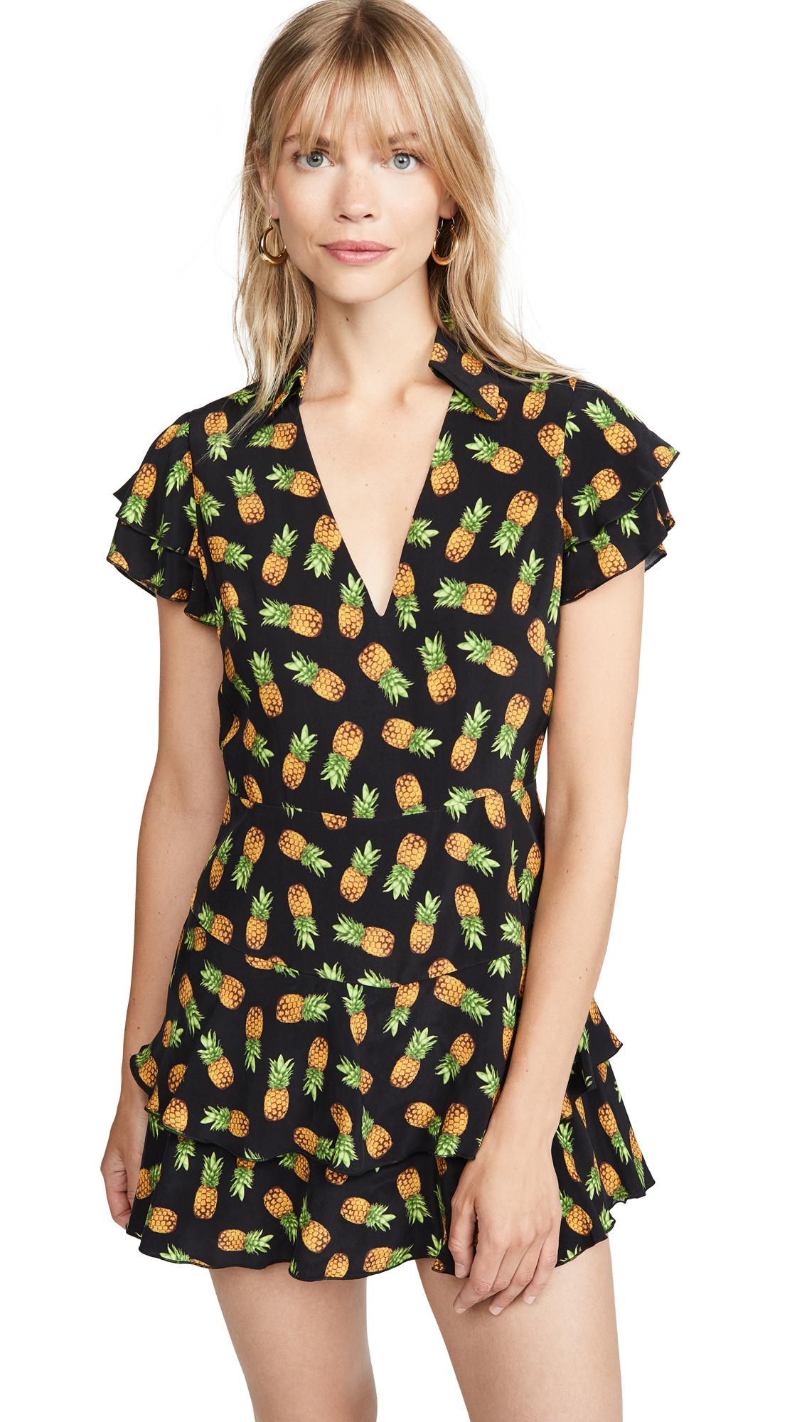 alice + olivia Shay Ruffle Skort Romper - Pineapple Black
