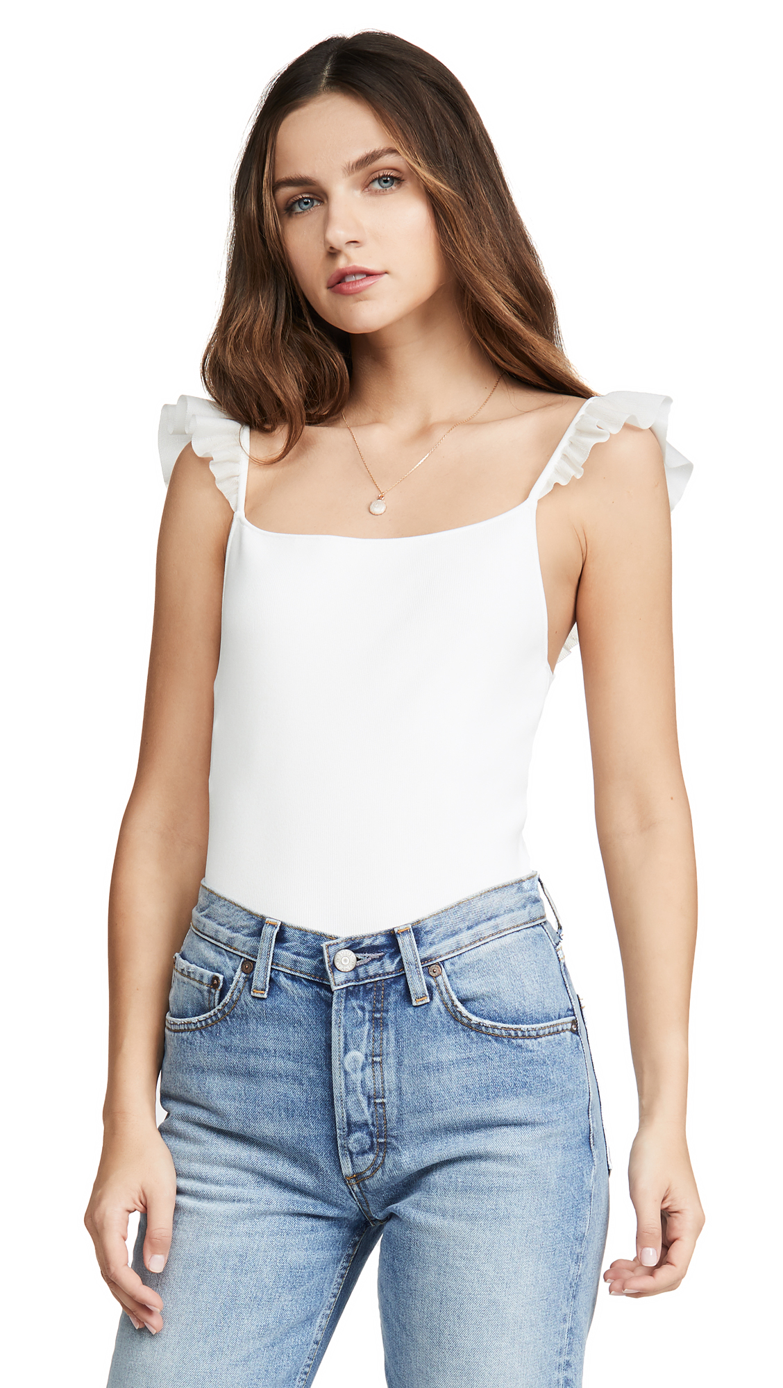 Buy alice + olivia online - photo of alice + olivia Marg Ruffle Strap Crop Top