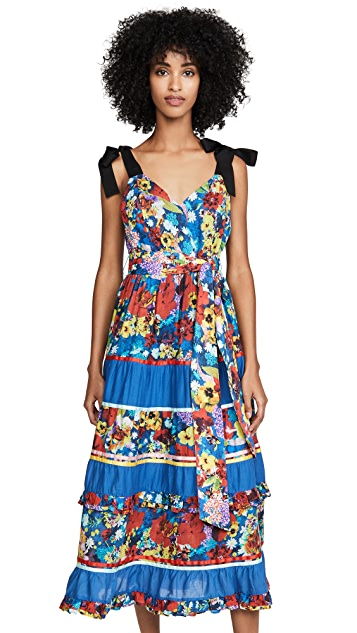 Photo of  alice + olivia Gayla Tiered Midi Dress - shop alice + olivia dresses online sales