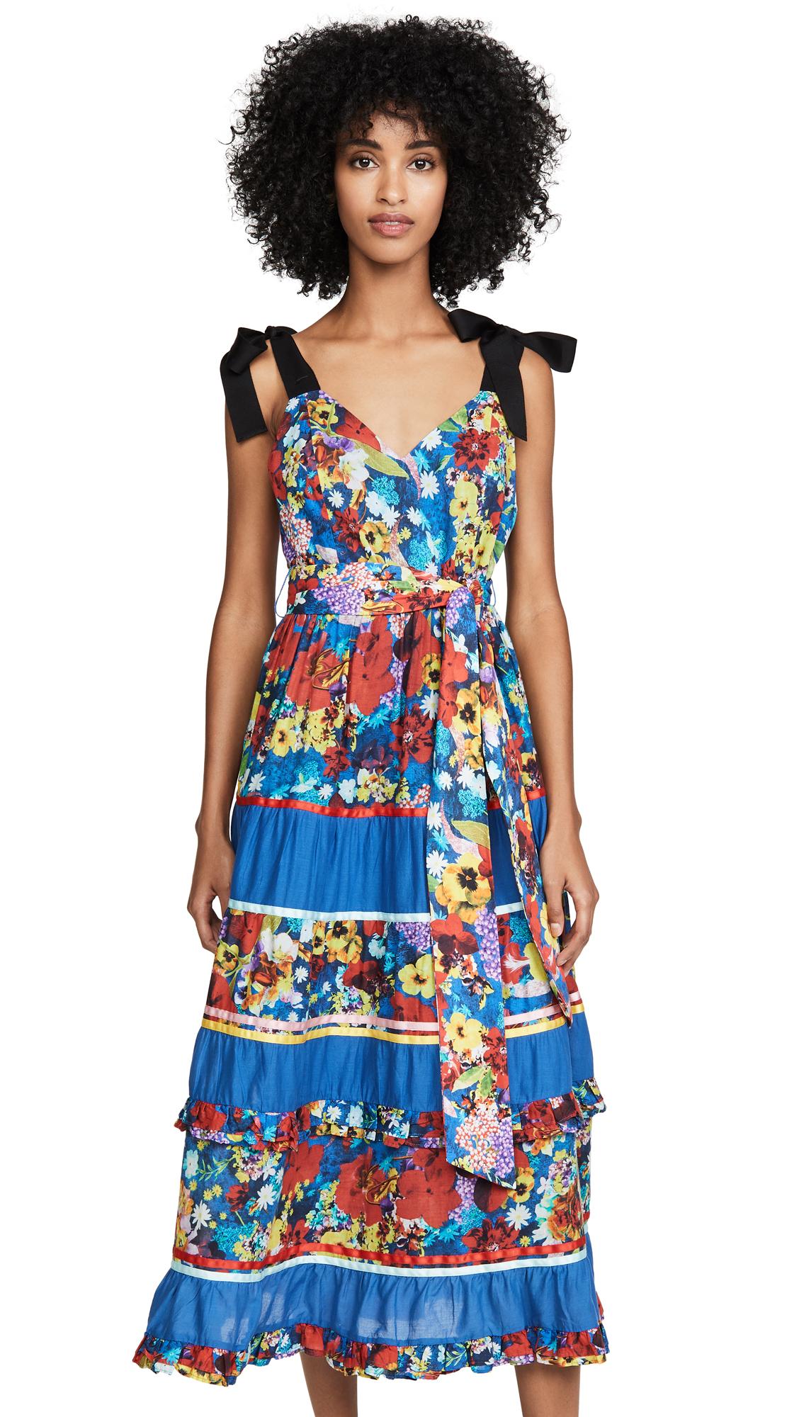 alice + olivia Gayla Tiered Midi Dress - Colorful Blossom Riviera