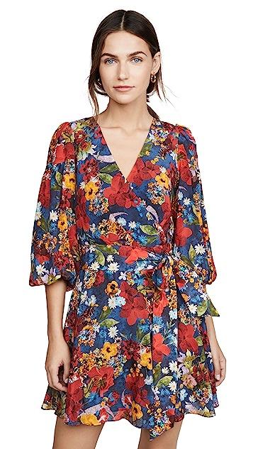 alice + olivia Kerri Bishop Sleeve Wrap Dress