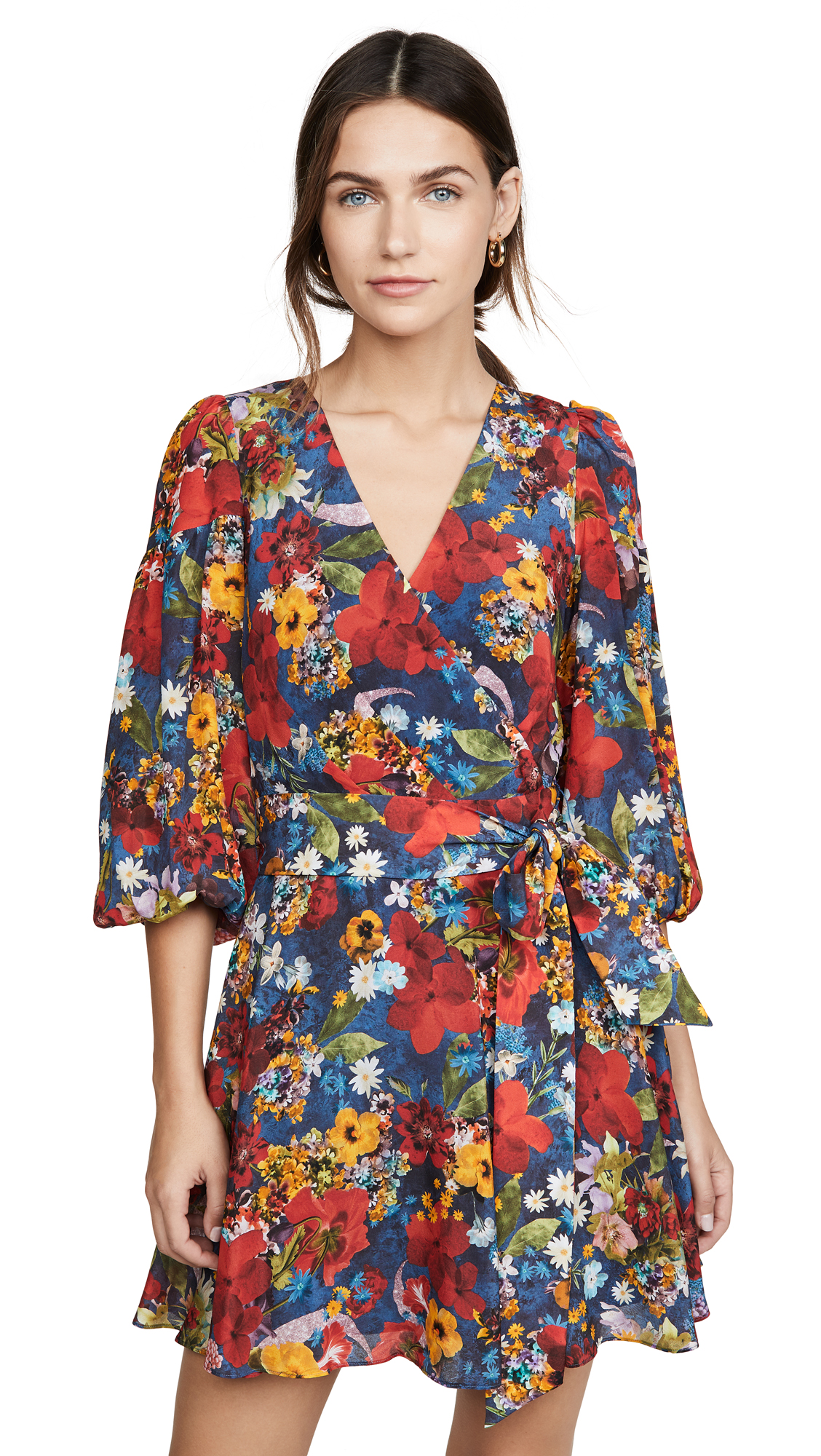 alice + olivia Kerri Bishop Sleeve Wrap Dress - Colorful Blossom Riviera