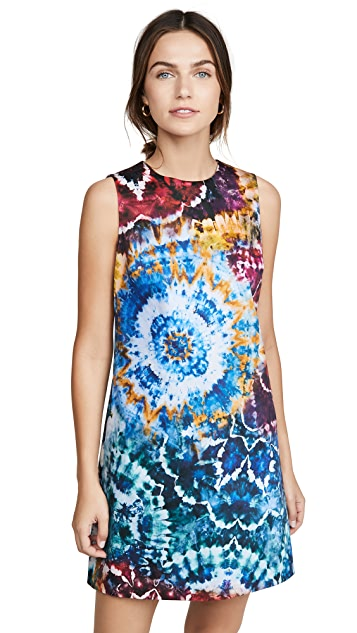 alice + olivia Coley Tie Dye Crew Neck Aline Dress