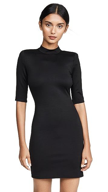 alice + olivia Inka Strong Shoulder Mock Neck Dress